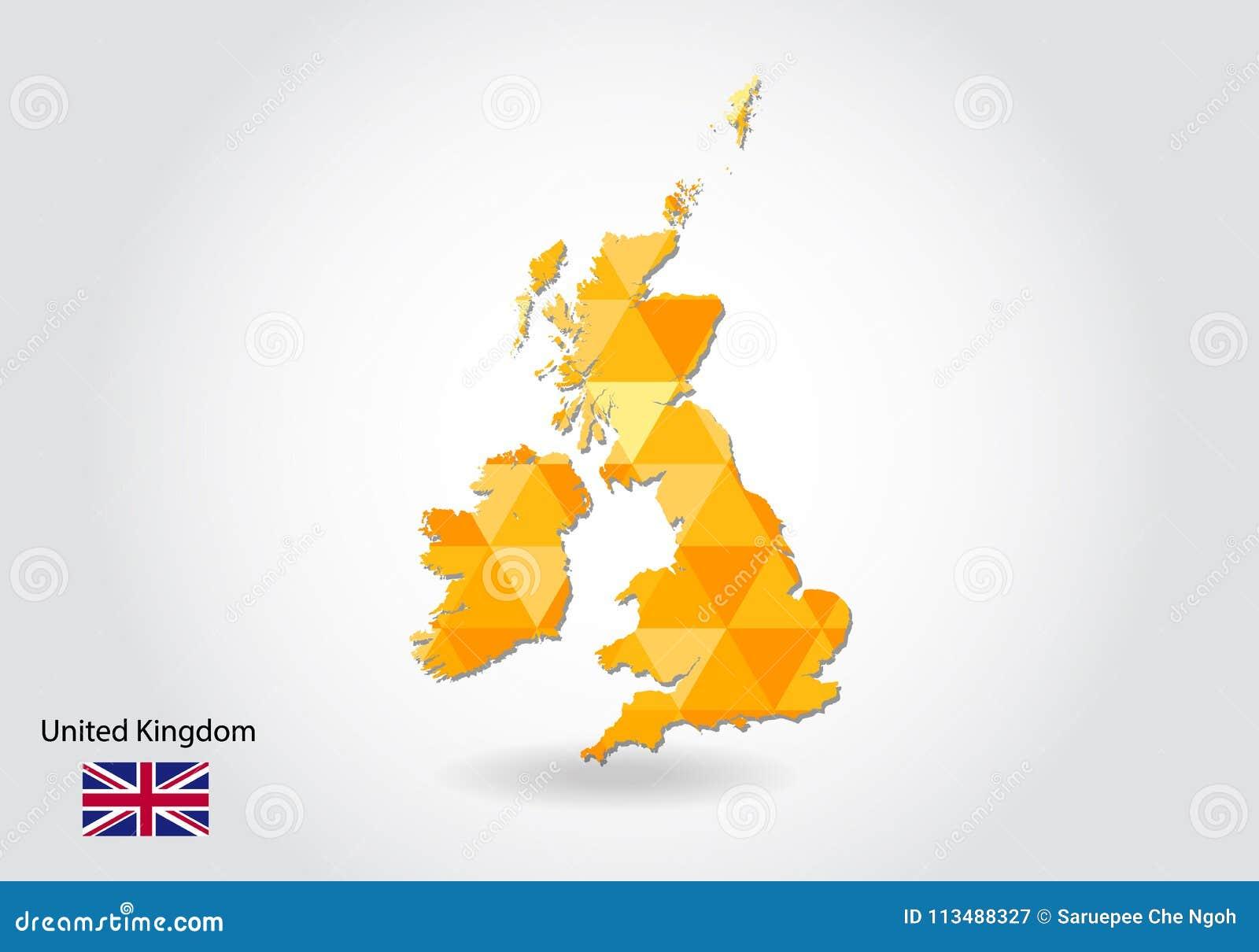 Γεωμετρικός polygonal διανυσματικός χάρτης ύφους του Ηνωμένου Βασιλείου Χαμηλός πολυ χάρτης του Ηνωμένου Βασιλείου