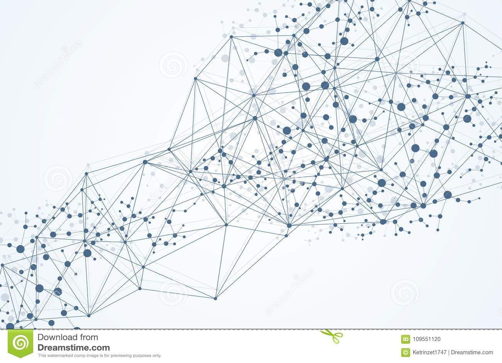 Γεωμετρικό αφηρημένο υπόβαθρο με τη συνδεδεμένα γραμμή και τα σημεία Μόριο και επικοινωνία δομών Μεγάλη απεικόνιση στοιχείων