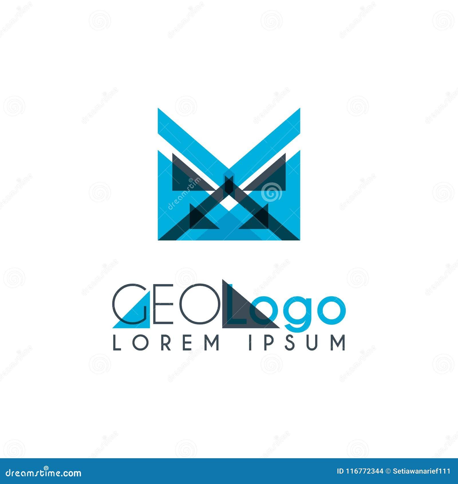 γεωμετρικό λογότυπο με ανοικτό μπλε και γκρίζος που συσσωρεύεται για το σχέδιο 0 6