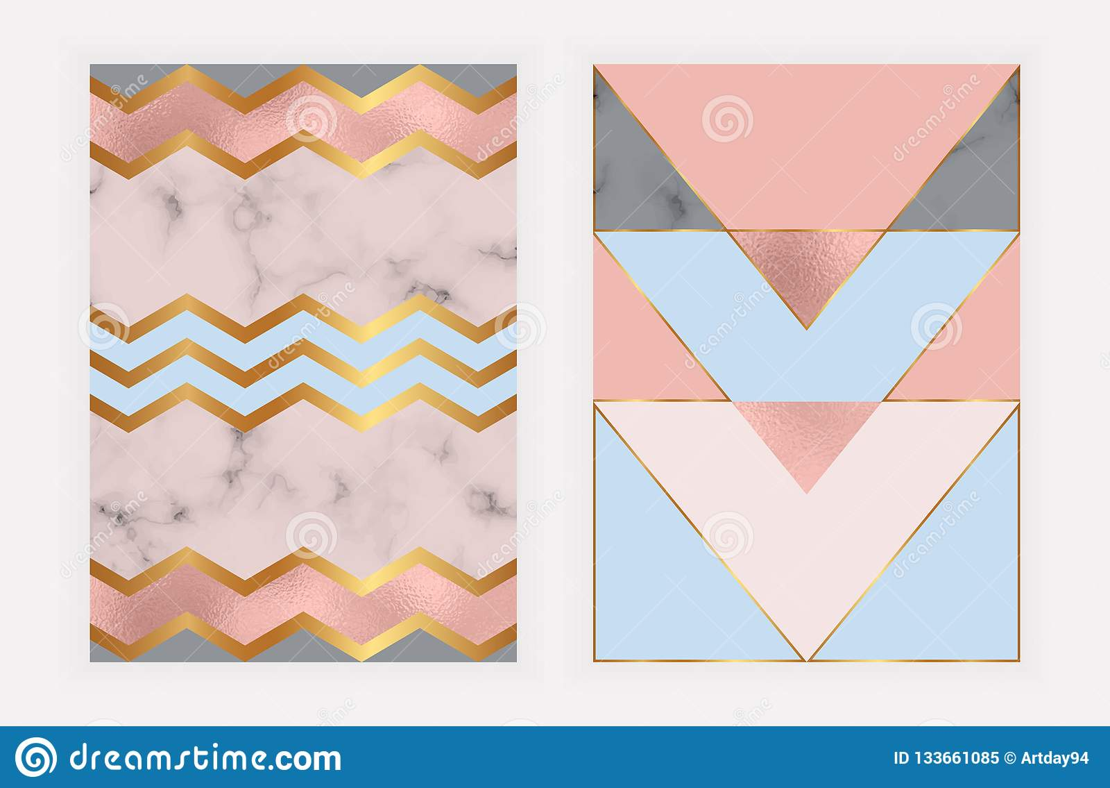 Γεωμετρικό σχέδιο μόδας με το ροδαλό χρυσό φύλλο αλουμινίου και τη μαρμάρινη σύσταση Σύγχρονο υπόβαθρο για την κάρτα, εορτασμός,