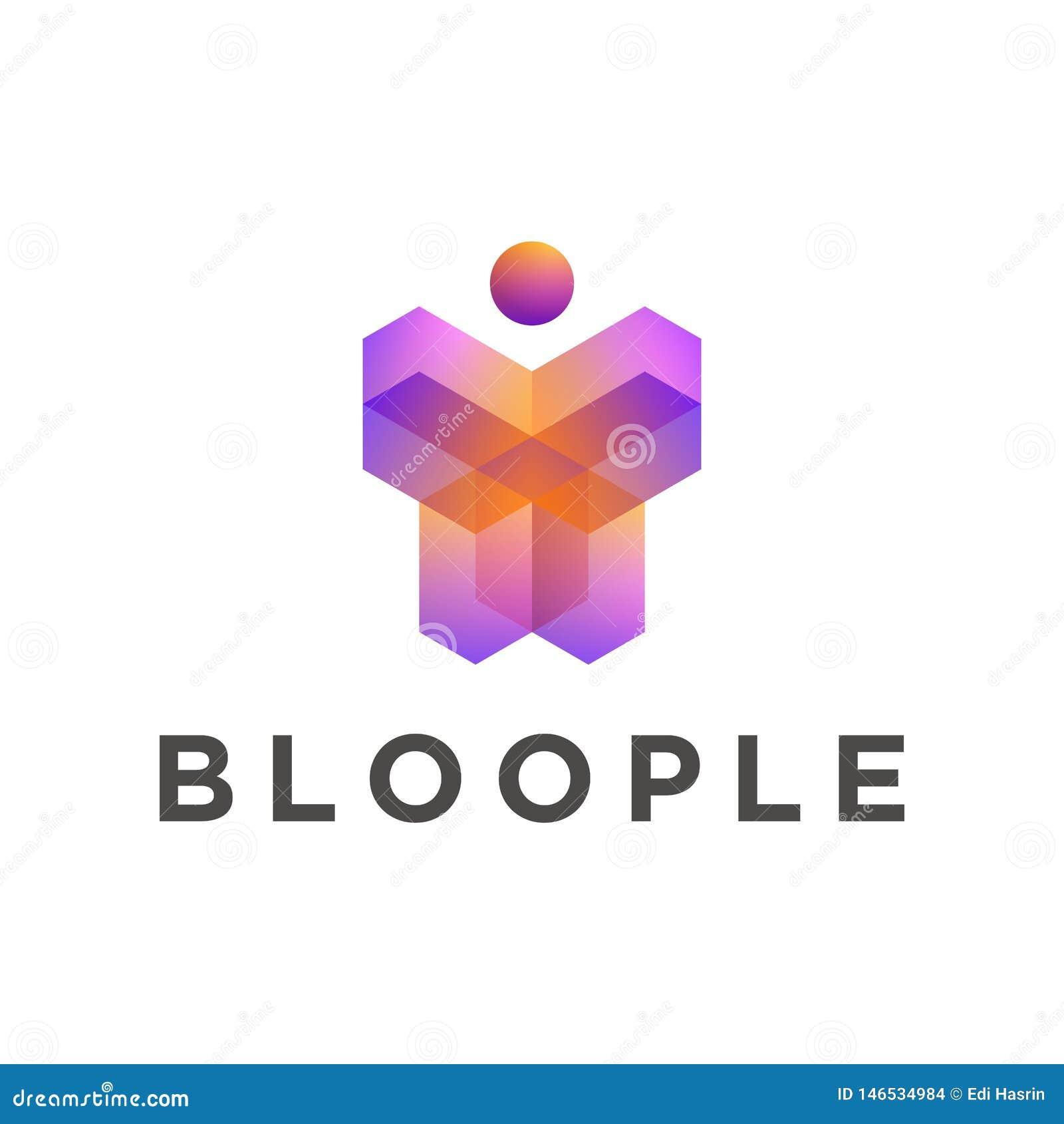 Γεωμετρικό τρισδιάστατο πρότυπο λογότυπων μορφής ανθρώπων, πορτοκαλιά πορφυρά χρώματα κλίσης