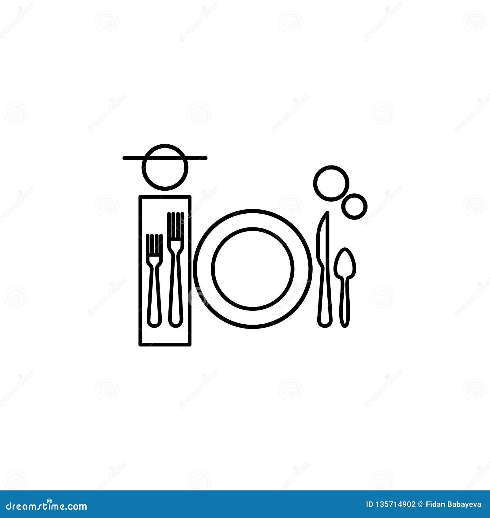 Γεύμα, εικονίδιο επιτραπέζιας εθιμοτυπίας Μπορέστε να χρησιμοποιηθείτε για τον Ιστό, λογότυπο, κινητό app, UI, UX