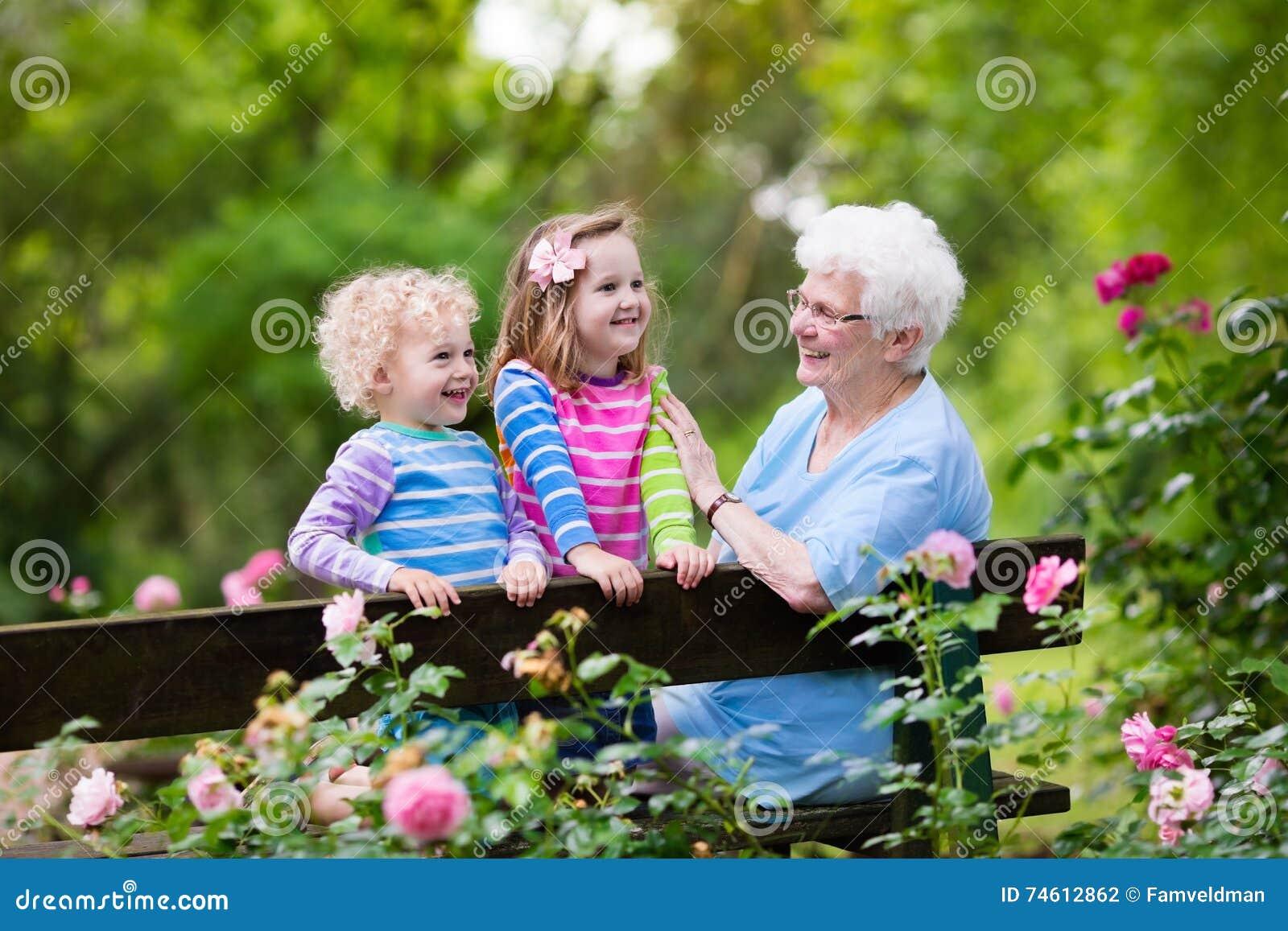 461a5778b56 Γιαγιά και παιδιά που κάθονται στη φυτεία με τριανταφυλλιές Στοκ ...