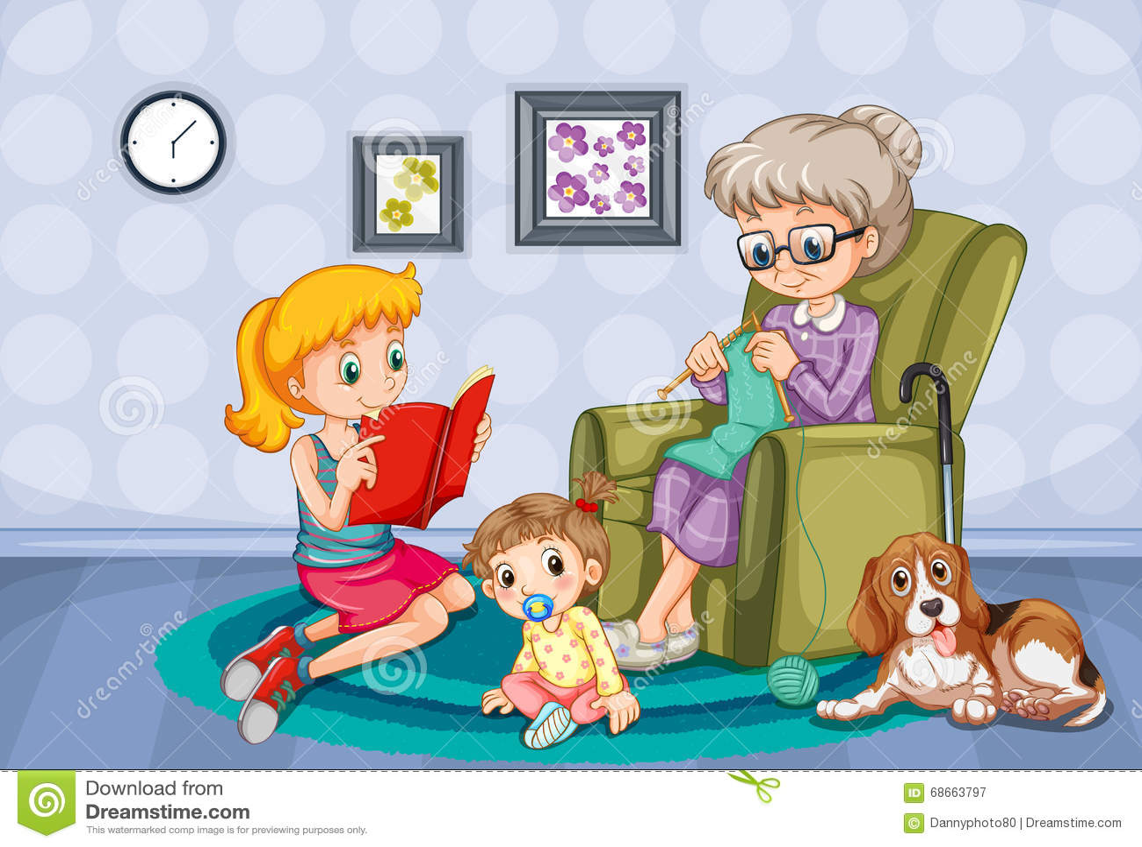 Γιαγιά και παιδιά στο δωμάτιο