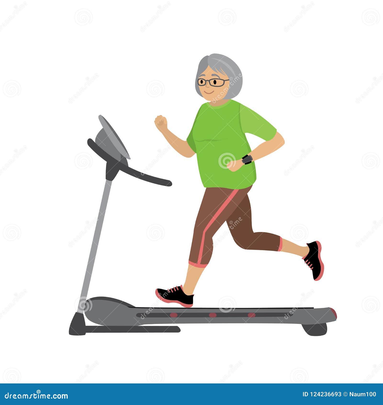 Γιαγιά κινούμενων σχεδίων treadmill