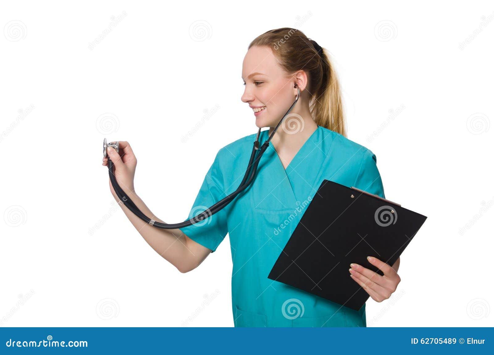 Γιατρός γυναικών που απομονώνεται στο λευκό