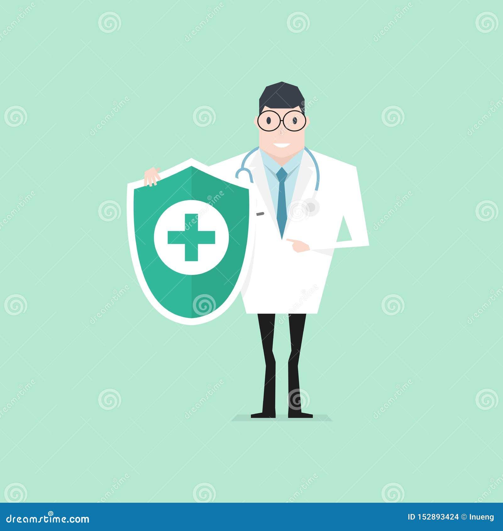 Γιατρός με το στηθοσκόπιο που κρατά την υγιεινή προστασία ασπίδων Έλεγχος υγείας επάνω