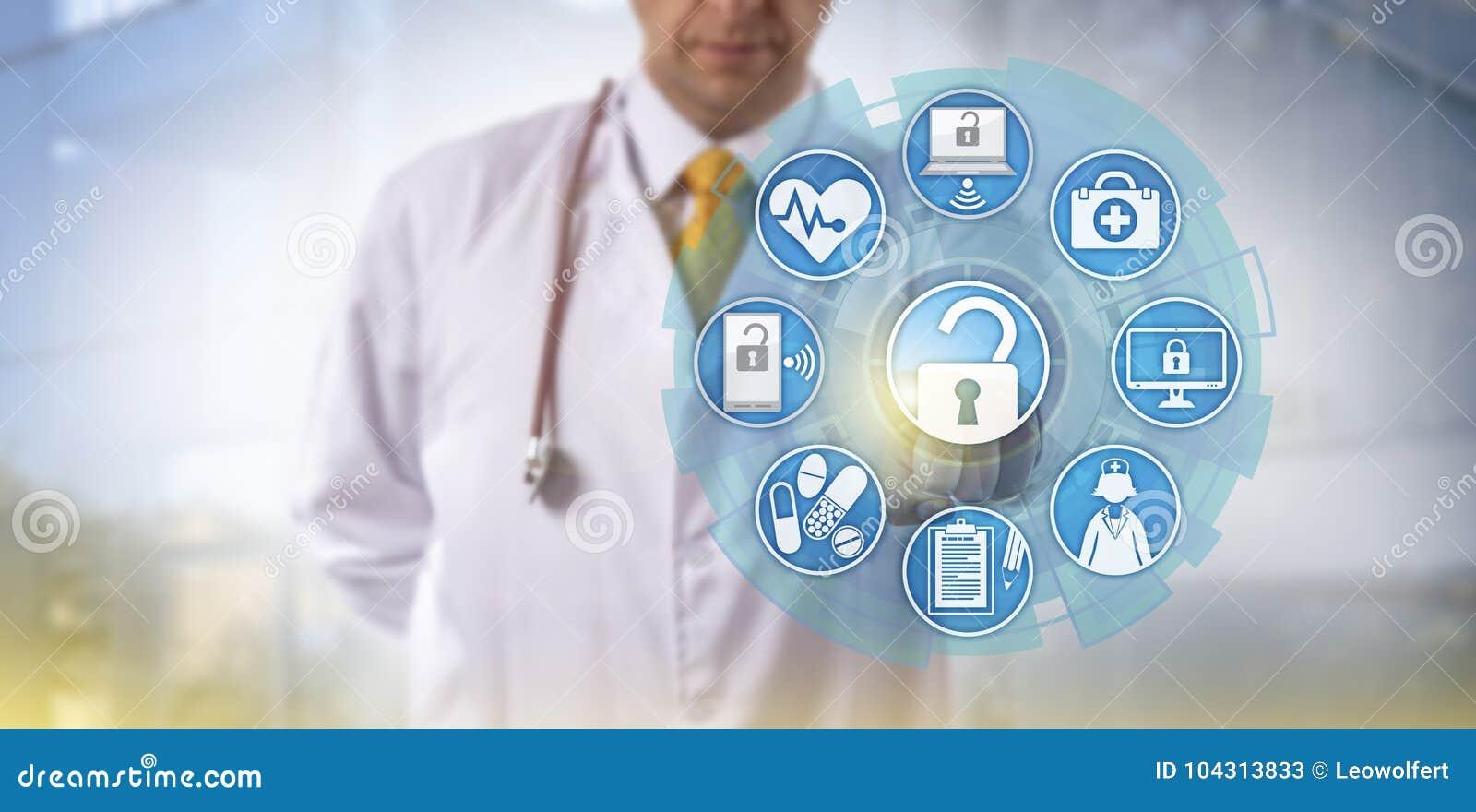 Γιατρός που αρχίζει την ανταλλαγή πληροφοριών υγείας
