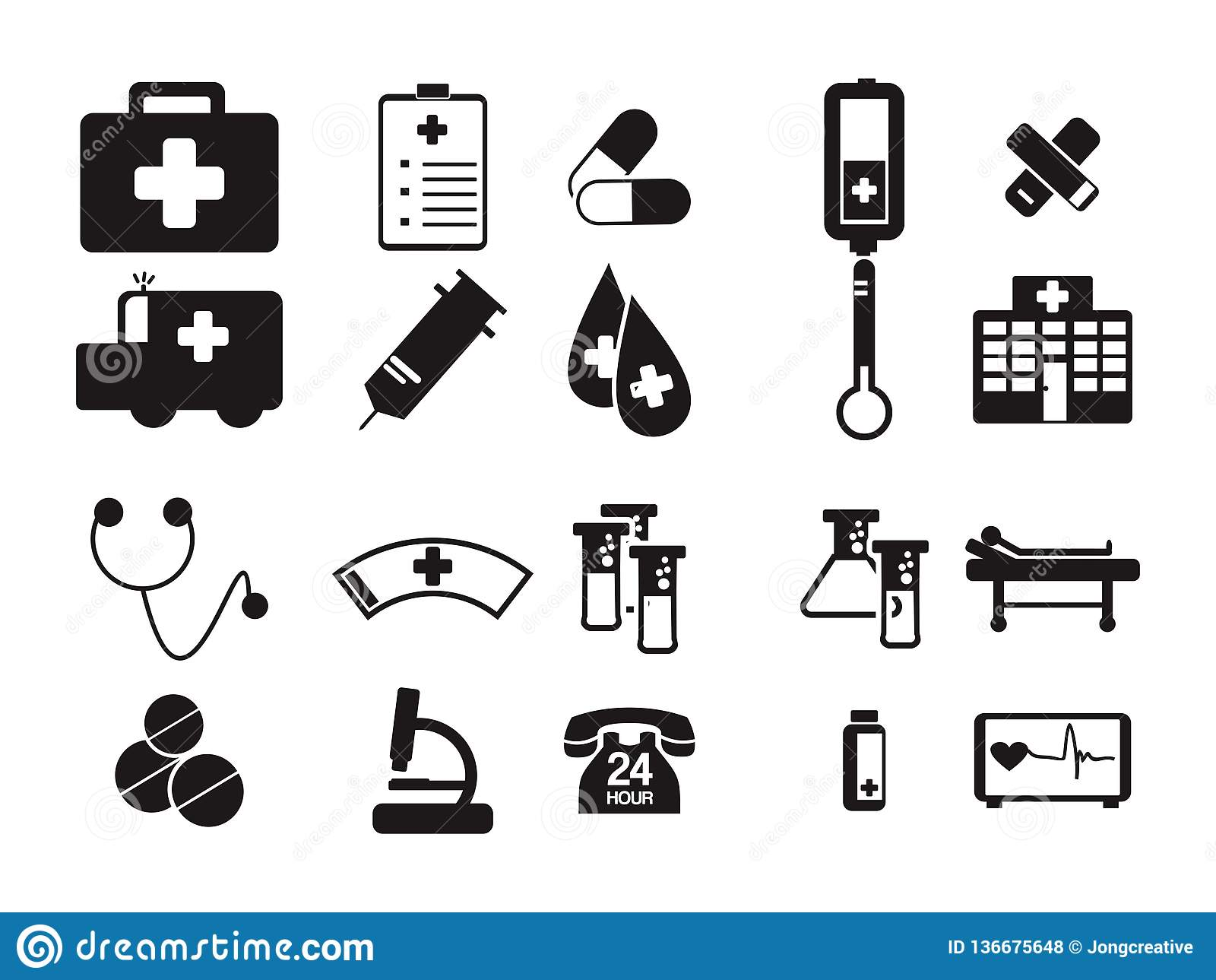 Γιατρών ιατρικό νοσοκομείων εξοπλισμού σύμβολο εικονιδίων εργαλείων μαύρο