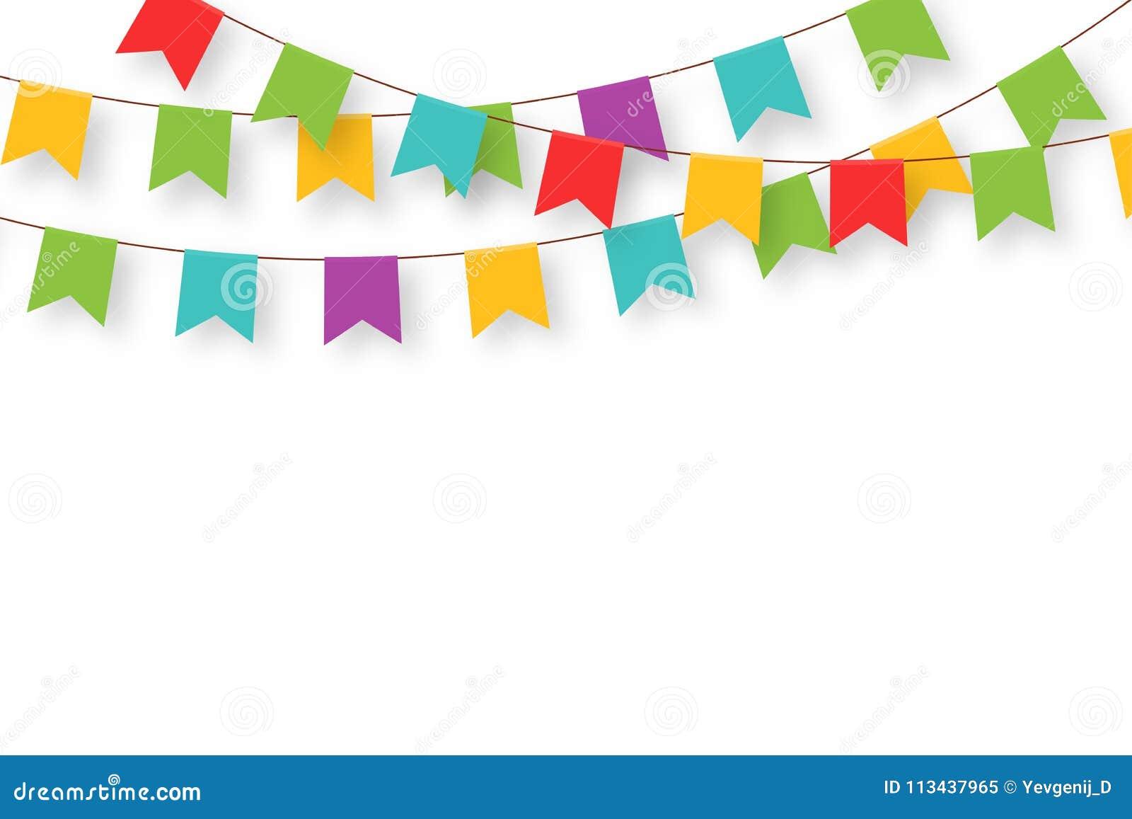 Γιρλάντα καρναβαλιού με τις σημαίες Διακοσμητικές ζωηρόχρωμες σημαίες κομμάτων για τον εορτασμό γενεθλίων, το φεστιβάλ και τη δίκ