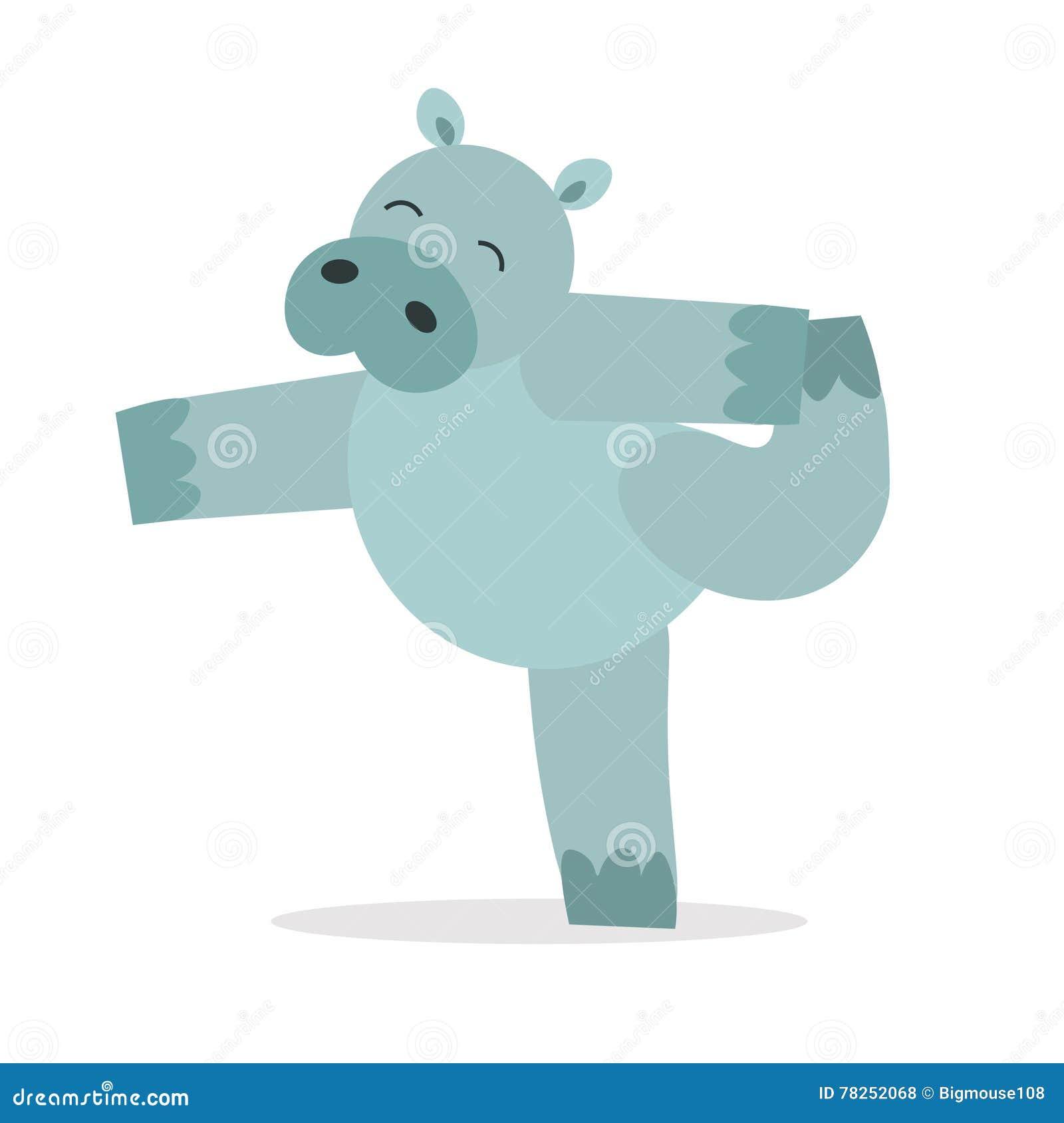 Γιόγκα ζωικό Hippopotamus Χαριτωμένο Hippo κάνει Asana διάνυσμα