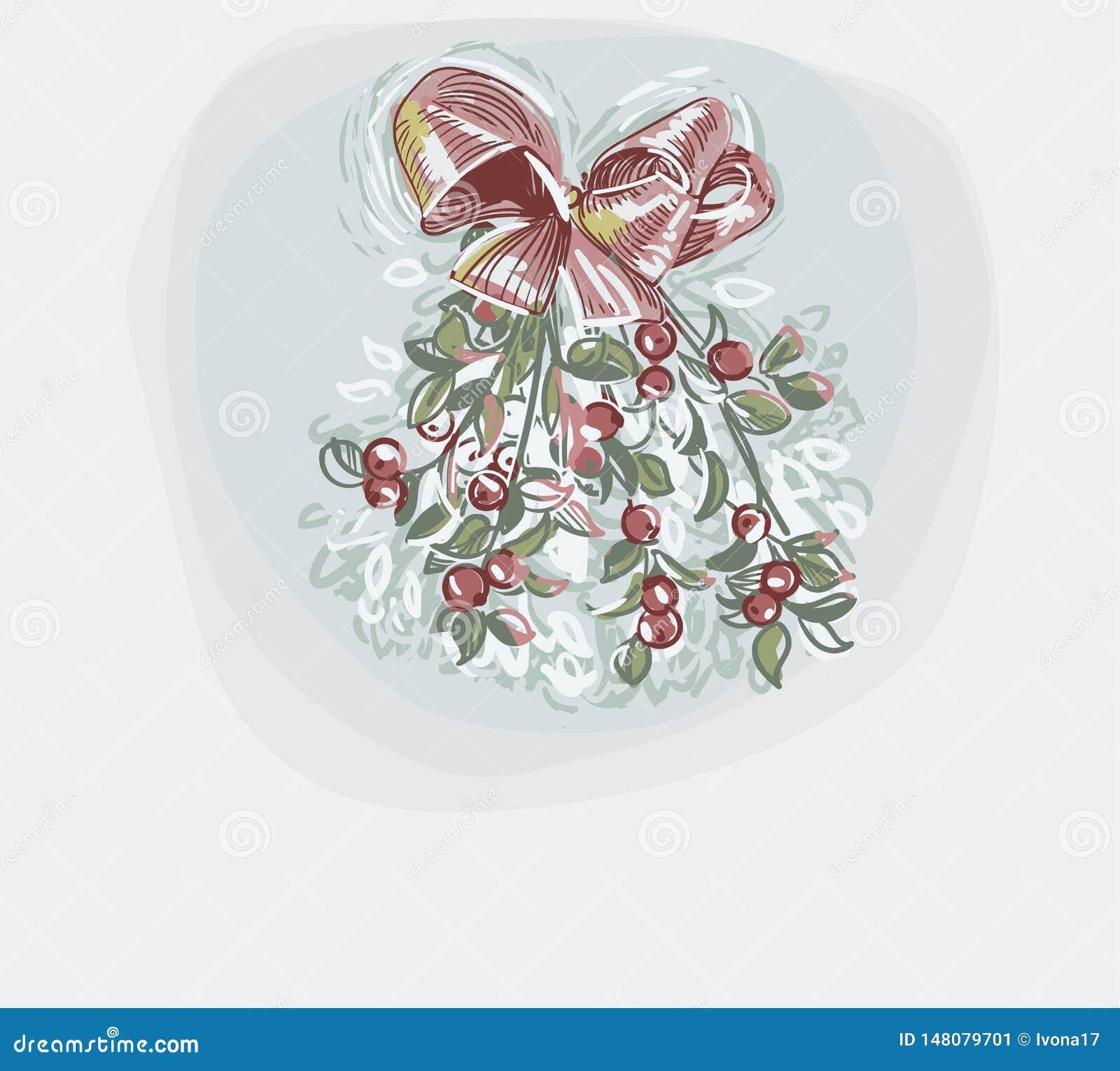 Γκι μπλε διανυσματικό καρτών Χριστουγέννων ύφος χρωμάτων κρητιδογραφιών χρώματος υποβάθρου μαλακό