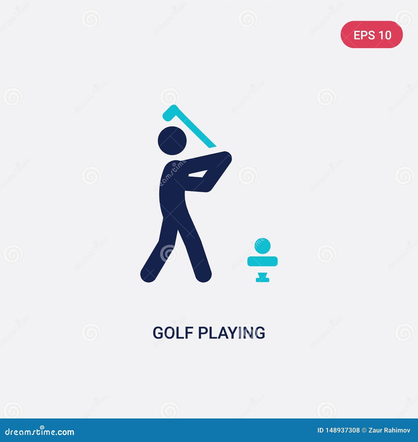 γκολφ δύο χρώματος που παίζει το διανυσματικό εικονίδιο από τη δραστηριότητα και την έννοια χόμπι το απομονωμένο μπλε γκολφ που π