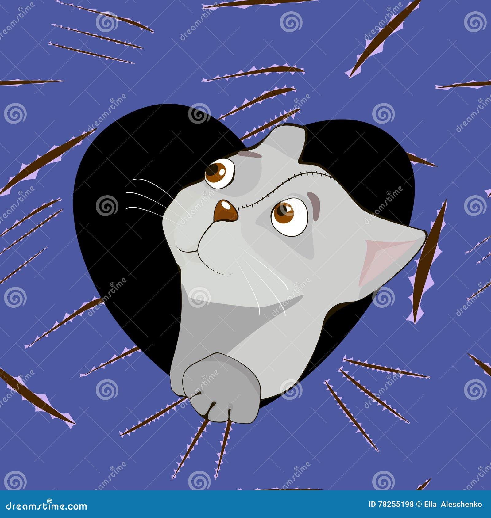 Γκρίζα γάτα κινούμενων σχεδίων στην καρδιά στο υπόβαθρο γρατσουνιών