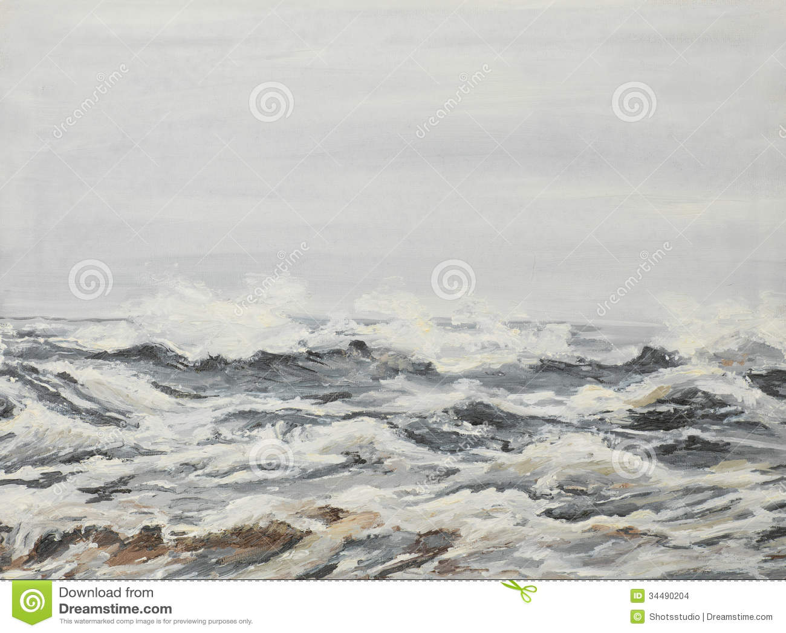 Γκρίζα κύματα θάλασσας, ελαιογραφία