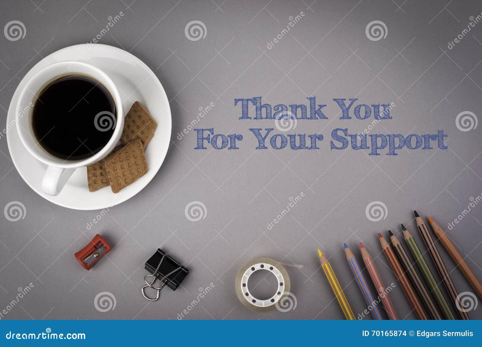 Γκρίζο γραφείο γραφείων με την επιγραφή - σας ευχαριστήστε για το Suppo σας