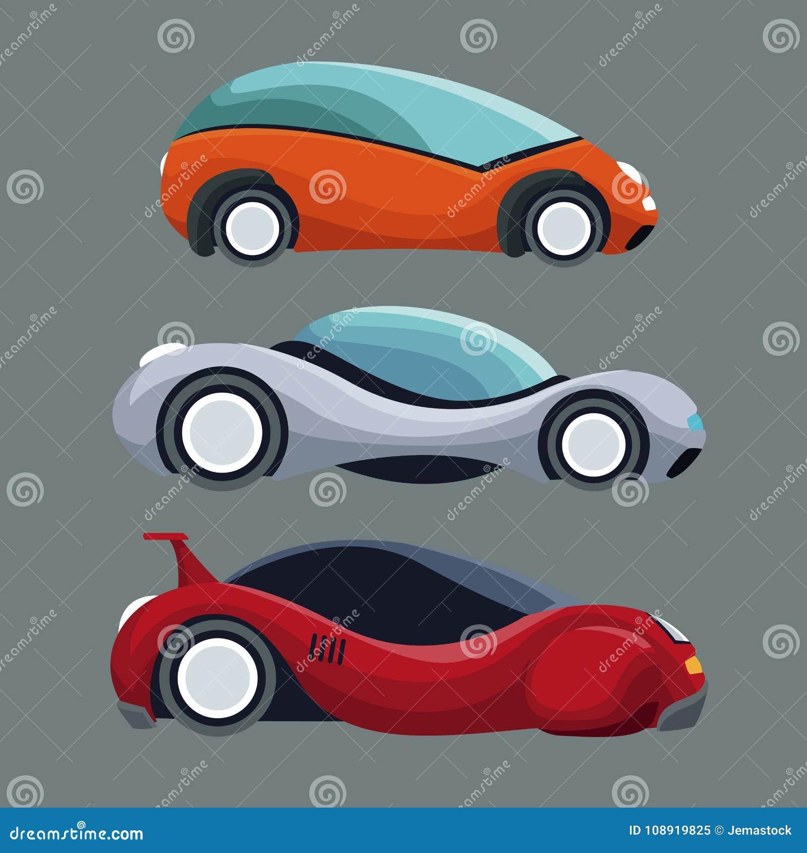 Γκρίζο υπόβαθρο των ζωηρόχρωμων οχημάτων αυτοκινήτων συνόλου φουτουριστικών σύγχρονων