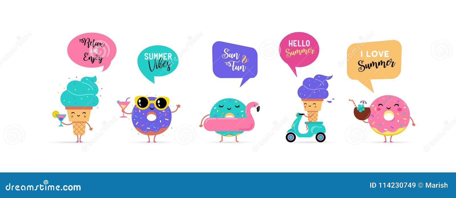 Γλυκό καλοκαίρι - το χαριτωμένοι παγωτό, το καρπούζι και donuts οι χαρακτήρες κάνουν τη διασκέδαση