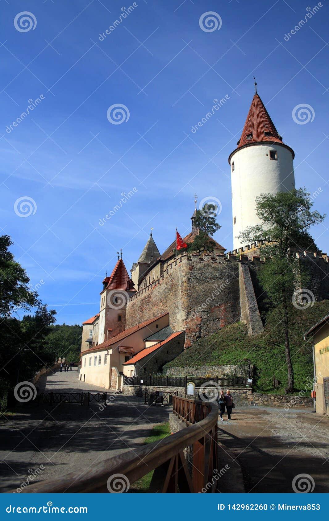 Γοτθικό κάστρο Krivoklat, Τσεχία Μπλε ουρανός και πράσινα δέντρα