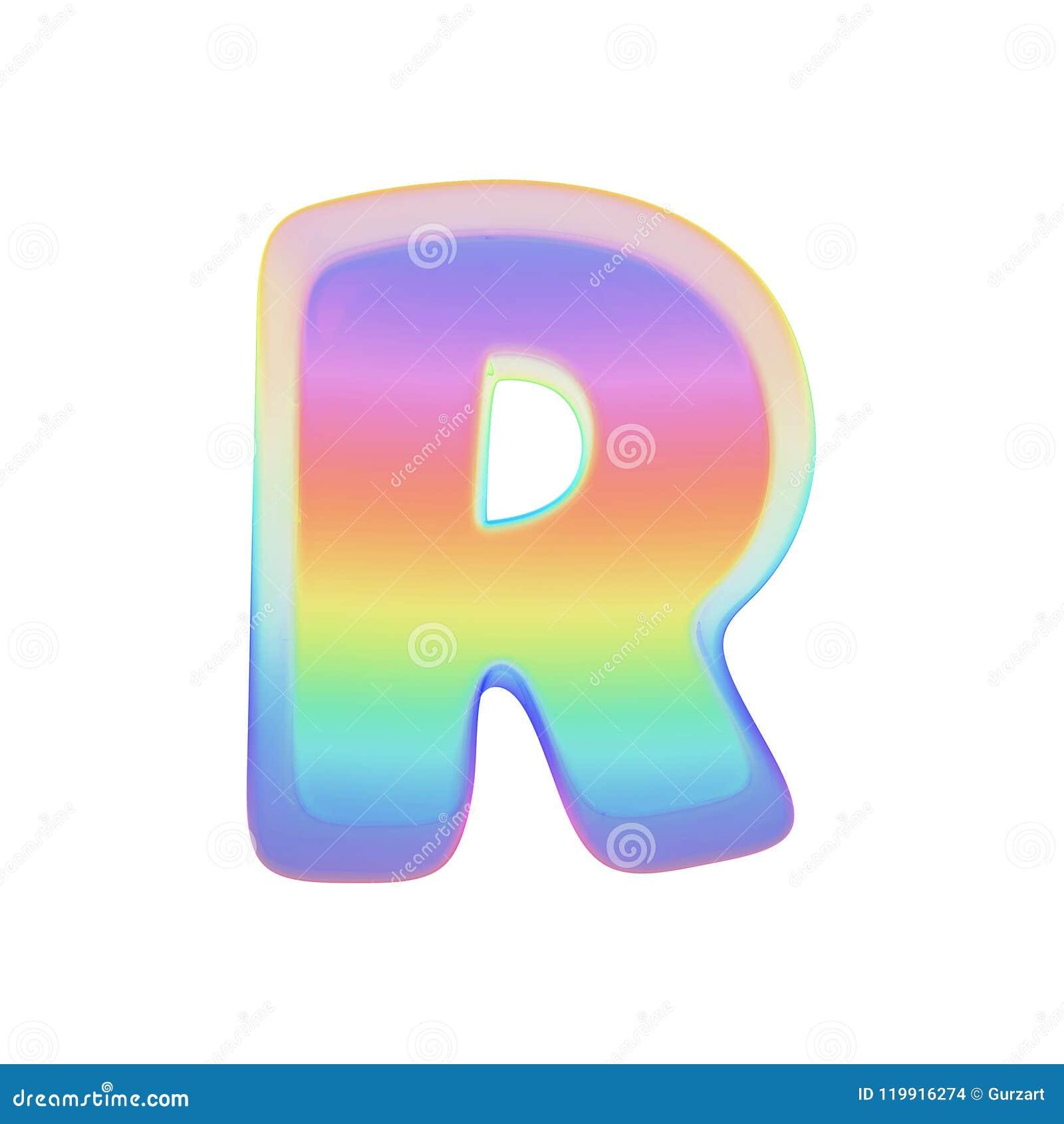Γράμμα Ρ αλφάβητου κεφαλαίο Πηγή ουράνιων τόξων φιαγμένη από φωτεινή φυσαλίδα σαπουνιών τρισδιάστατος δώστε απομονωμένος στην άσπ