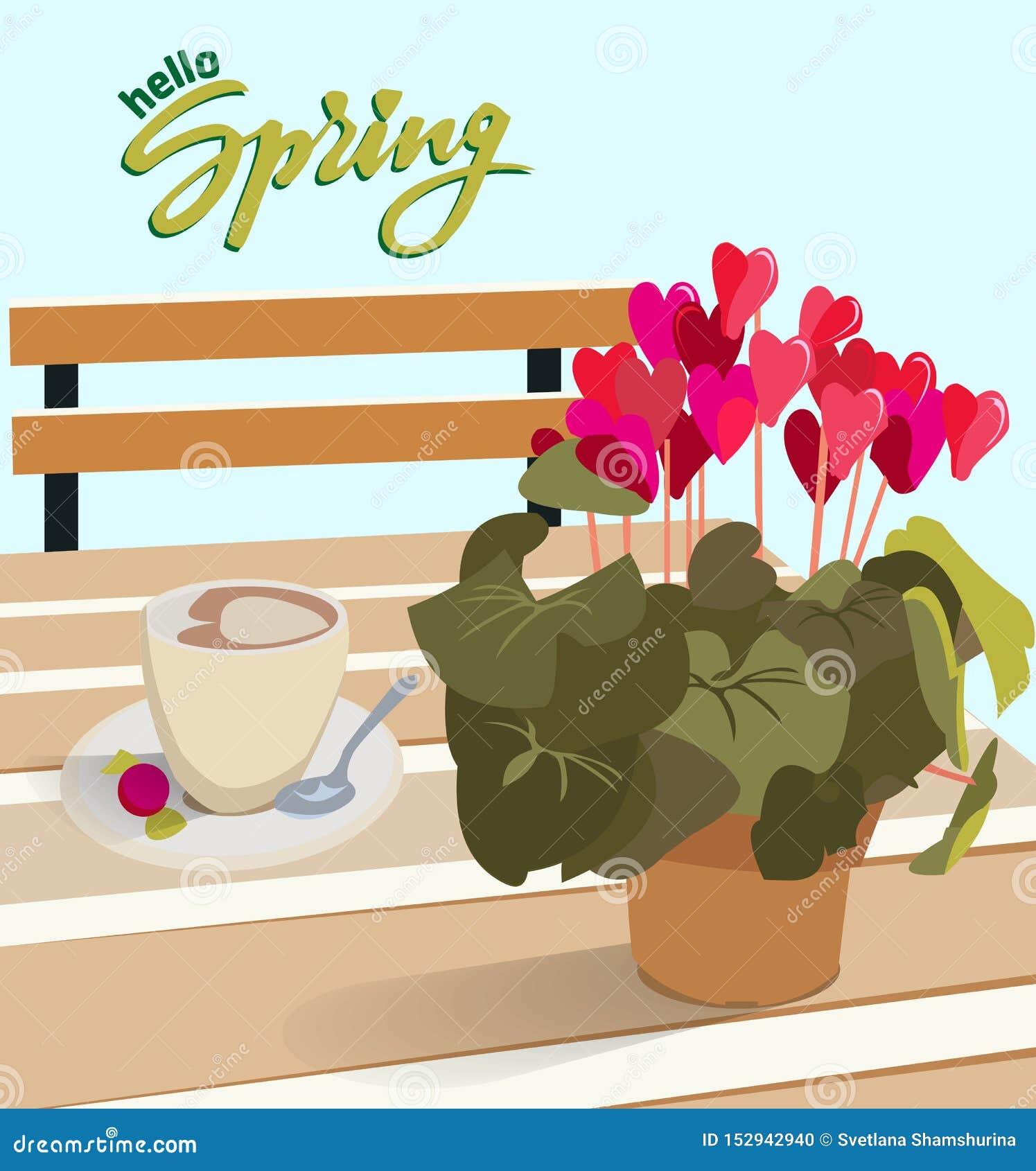 Γράφοντας γειά σου ελατήριο Ένας πίνακας σε έναν καφέ με ένα λουλούδι σε ένα δοχείο και ένα φλιτζάνι του καφέ με την καραμέλα Δια