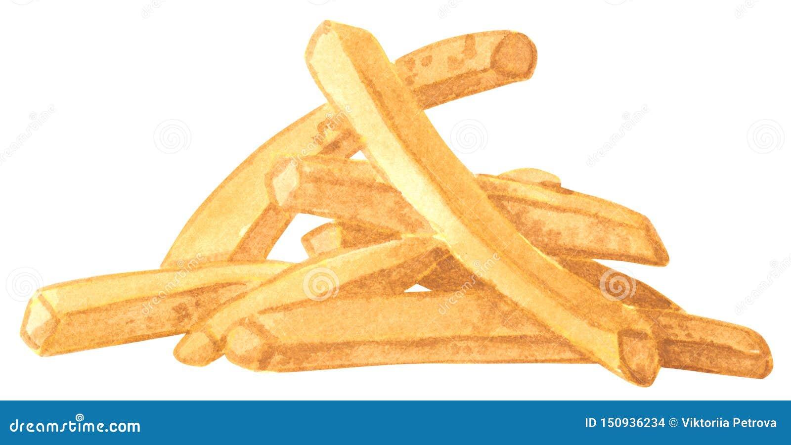Γρήγορο γεύμα, τηγανιτές πατάτες, συρμένη χέρι απεικόνιση watercolor