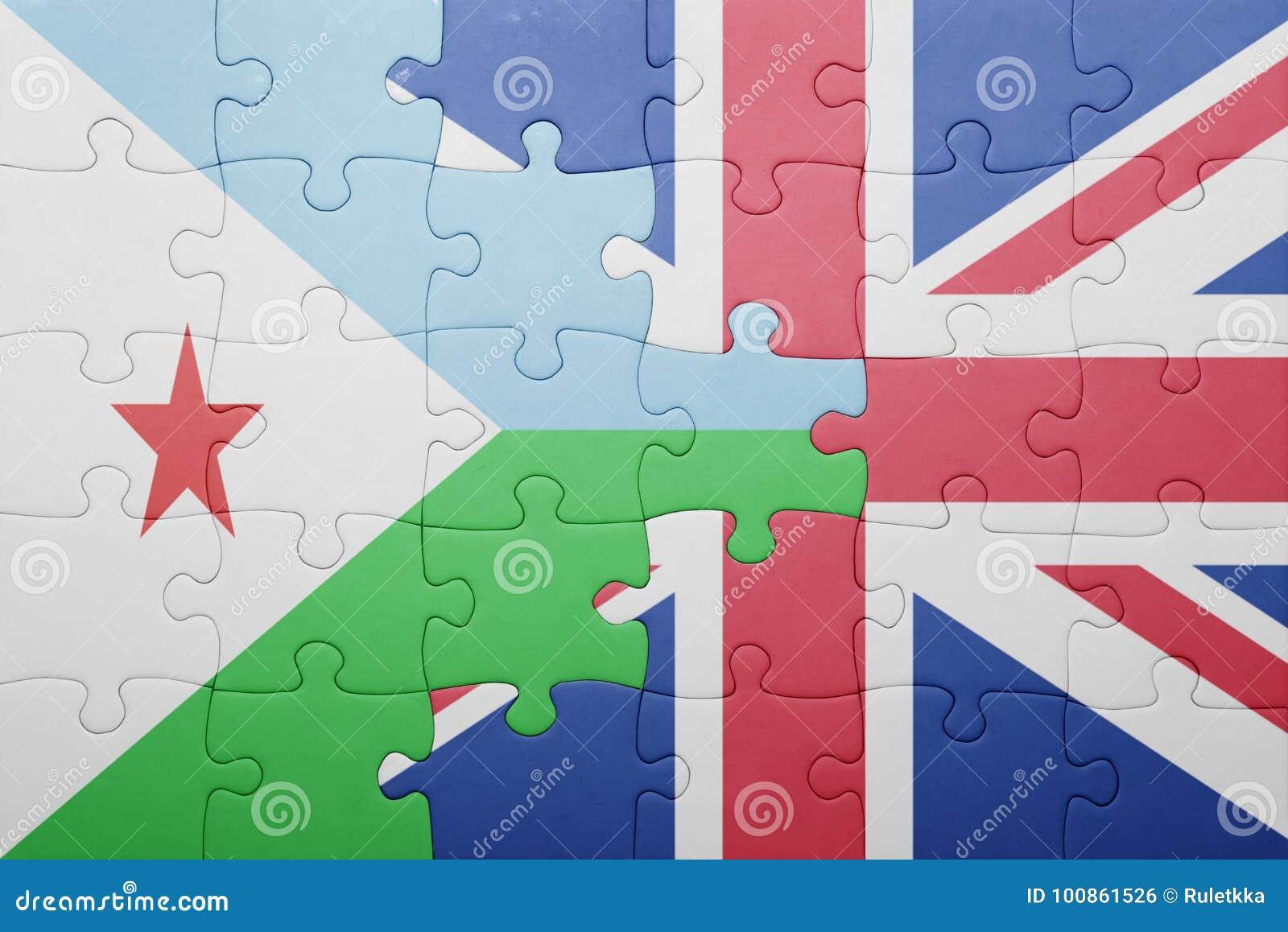 γρίφος με τη εθνική σημαία της Μεγάλης Βρετανίας και του Τζιμπουτί
