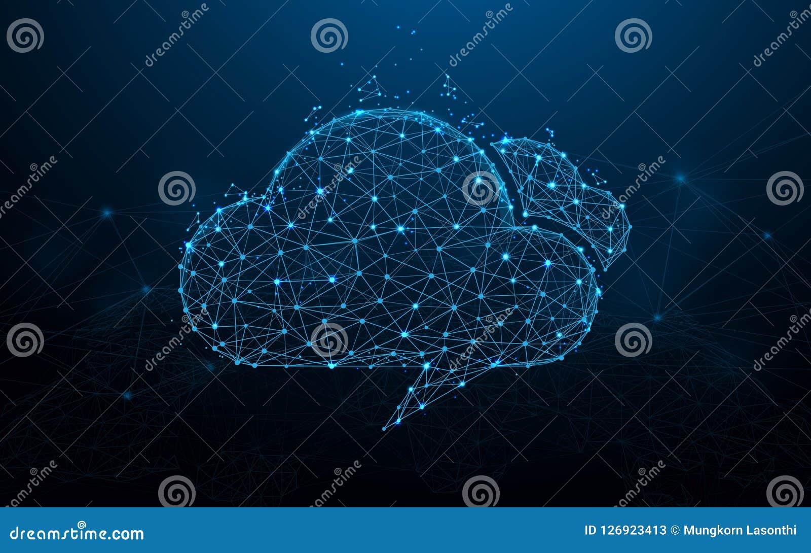 Γραμμές μορφής υπολογισμού σύννεφων, τρίγωνα και σχέδιο ύφους μορίων