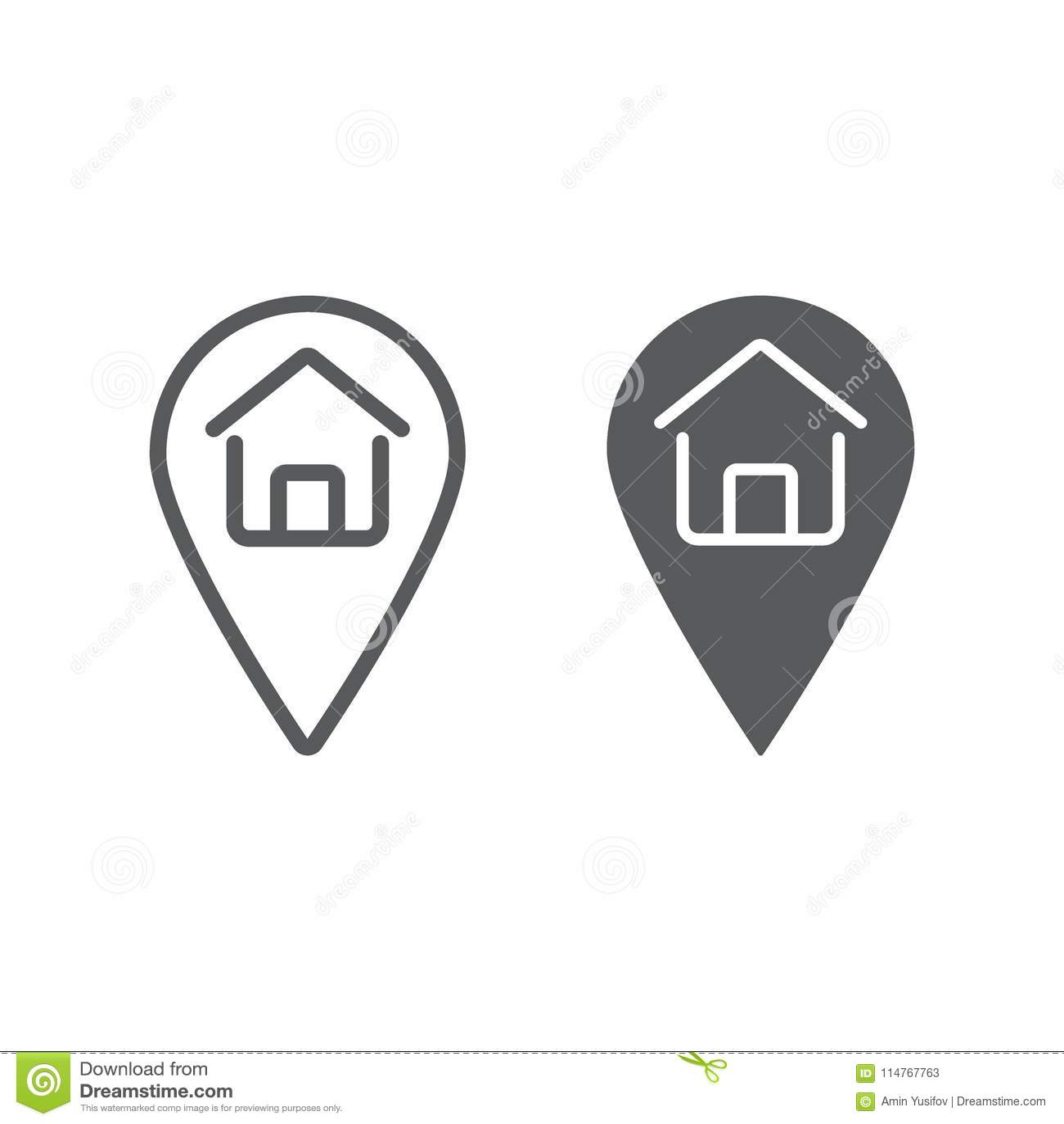Γραμμή εγχώριας θέσης και glyph εικονίδιο, ακίνητη περιουσία