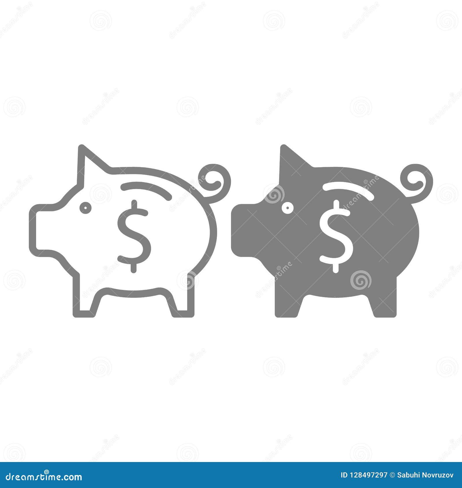 Γραμμή και glyph εικονίδιο αποταμίευσης Αποταμίευσης χρημάτων απεικόνιση που απομονώνεται διανυσματική στο λευκό Σχέδιο ύφους περ