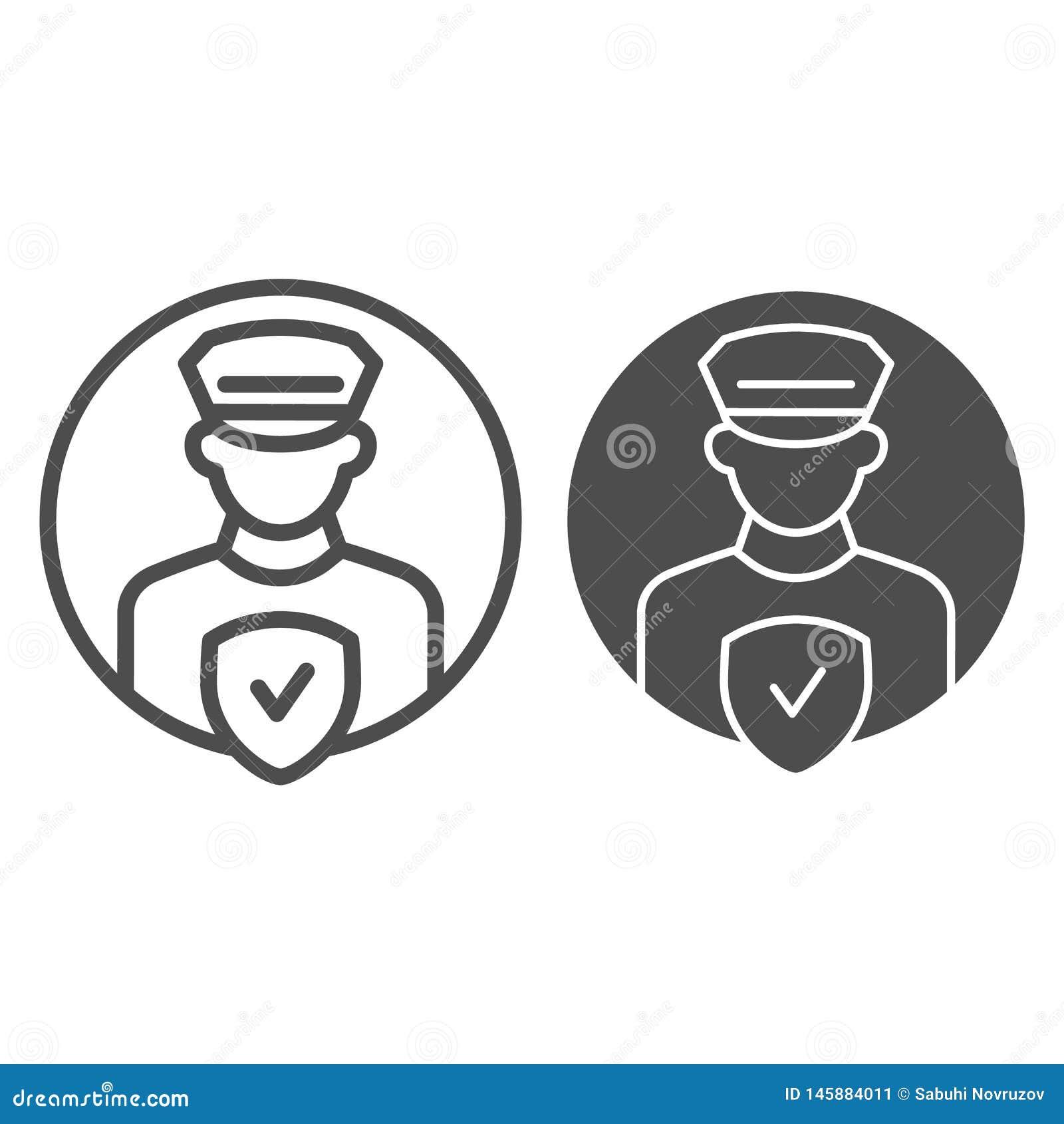 Γραμμή και glyph εικονίδιο ελέγχου ανώτερων υπαλλήλων Pollice Αστυνομικός τη διανυσματική απεικόνιση ελέγχου που απομονώνεται με