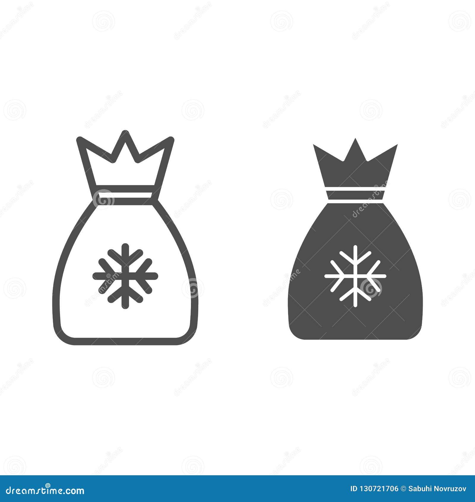 Γραμμή και glyph εικονίδιο τσαντών Santas Η τσάντα με παρουσιάζει τη διανυσματική απεικόνιση που απομονώνεται στο λευκό Ύφος περι