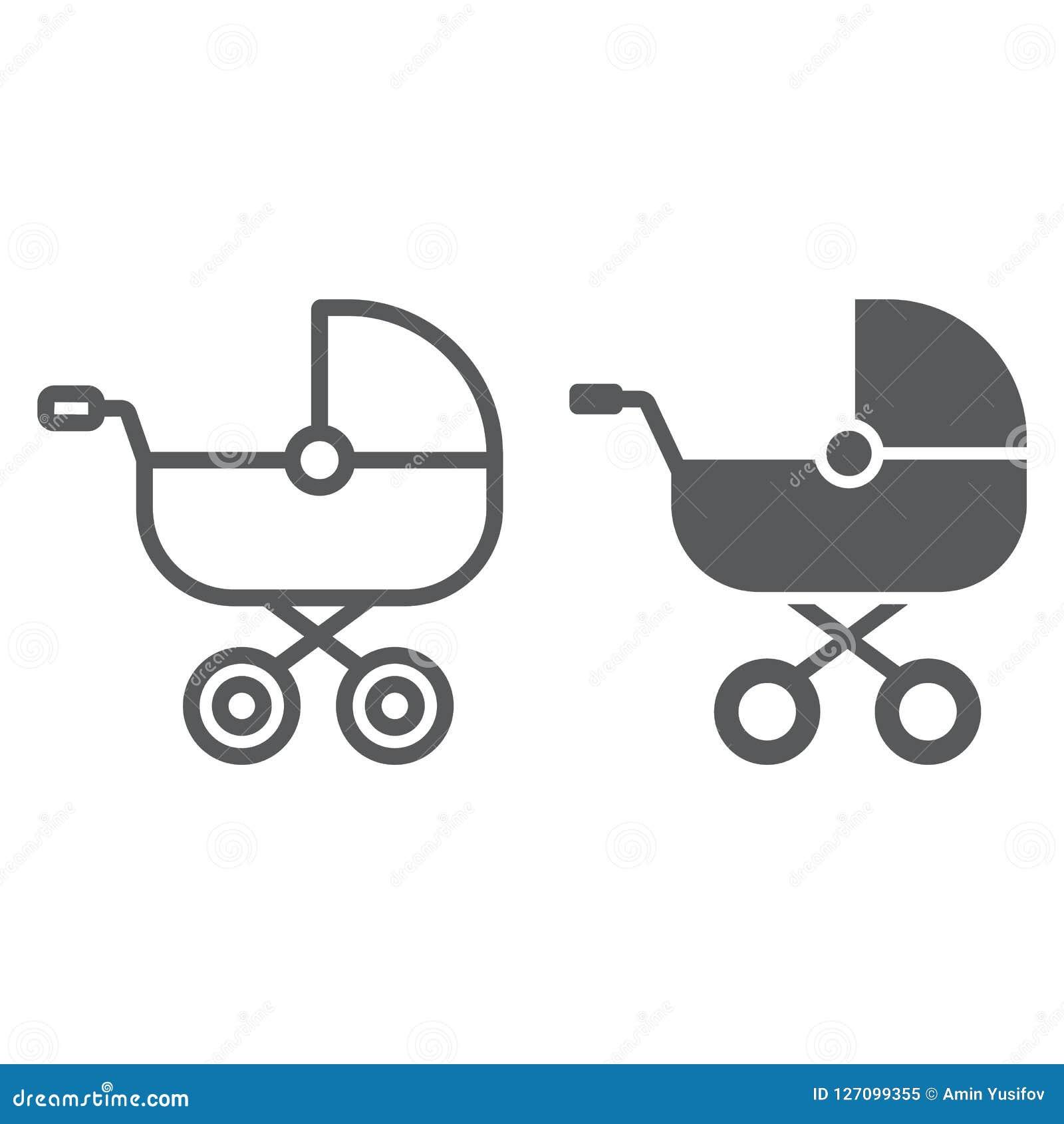 Γραμμή μεταφορών μωρών και glyph εικονίδιο, παιδί και καροτσάκι, με λάθη σημάδι, διανυσματική γραφική παράσταση, ένα γραμμικό σχέ