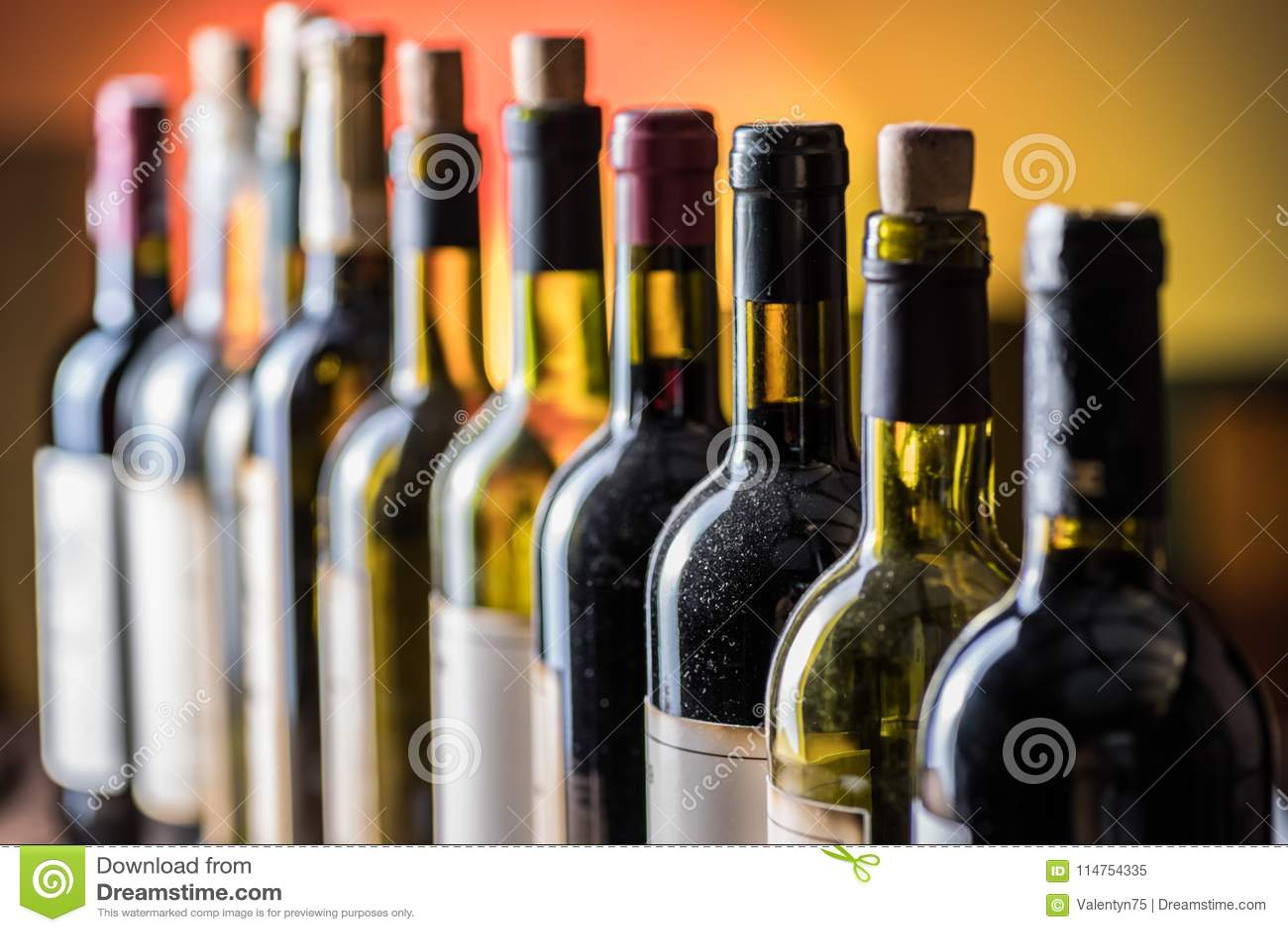 Γραμμή μπουκαλιών κρασιού Κινηματογράφηση σε πρώτο πλάνο
