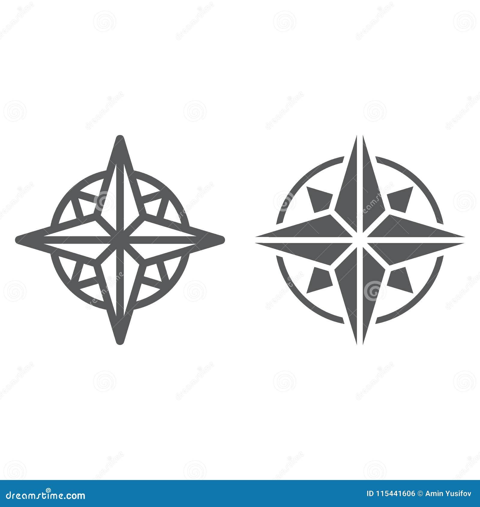 Γραμμή πυξίδων και glyph εικονίδιο, πλοηγός