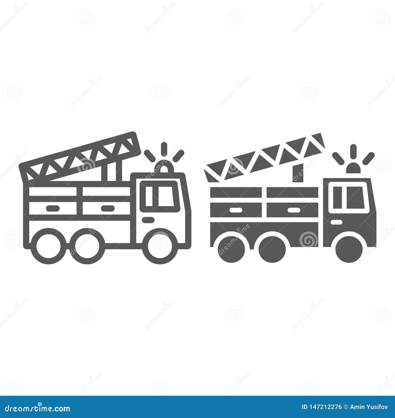 Γραμμή πυροσβεστικών οχημάτων και glyph εικονίδιο, μεταφορά και έκτακτη ανάγκη, σημάδι αυτοκινήτων πυροσβεστών, διανυσματική γραφ