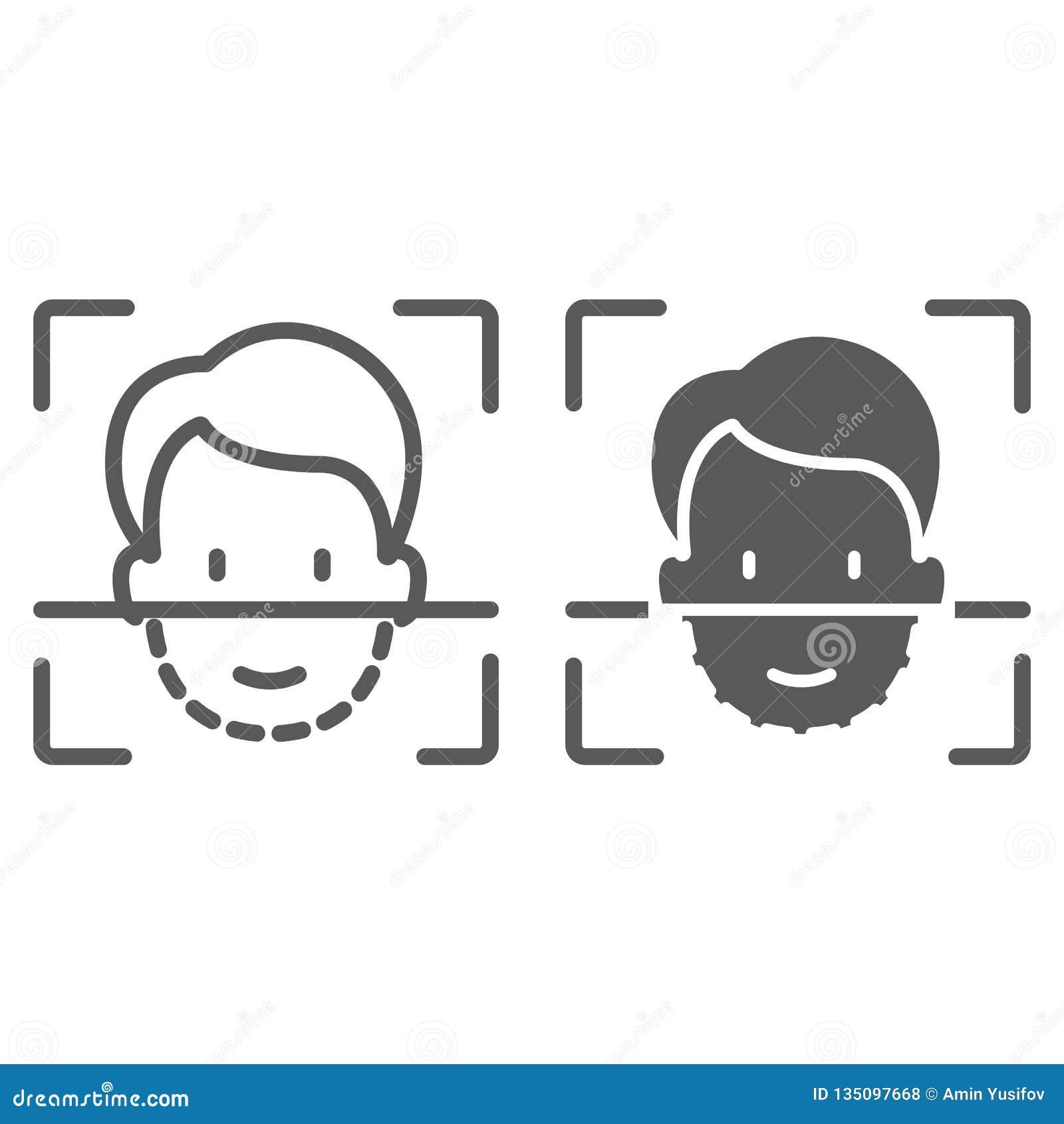 Γραμμή ταυτότητας προσώπου και glyph εικονίδιο, αναγνώριση προσώπου και προσδιορισμός προσώπου, σημάδι ανίχνευσης προσώπου, διανυ