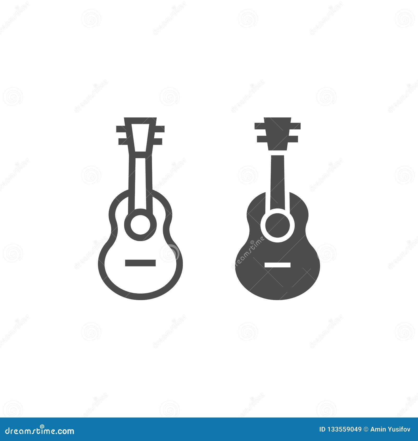 Γραμμή Ukulele και glyph εικονίδιο, μουσική και σειρά, σημάδι κιθάρων, διανυσματική γραφική παράσταση, ένα γραμμικό σχέδιο σε ένα