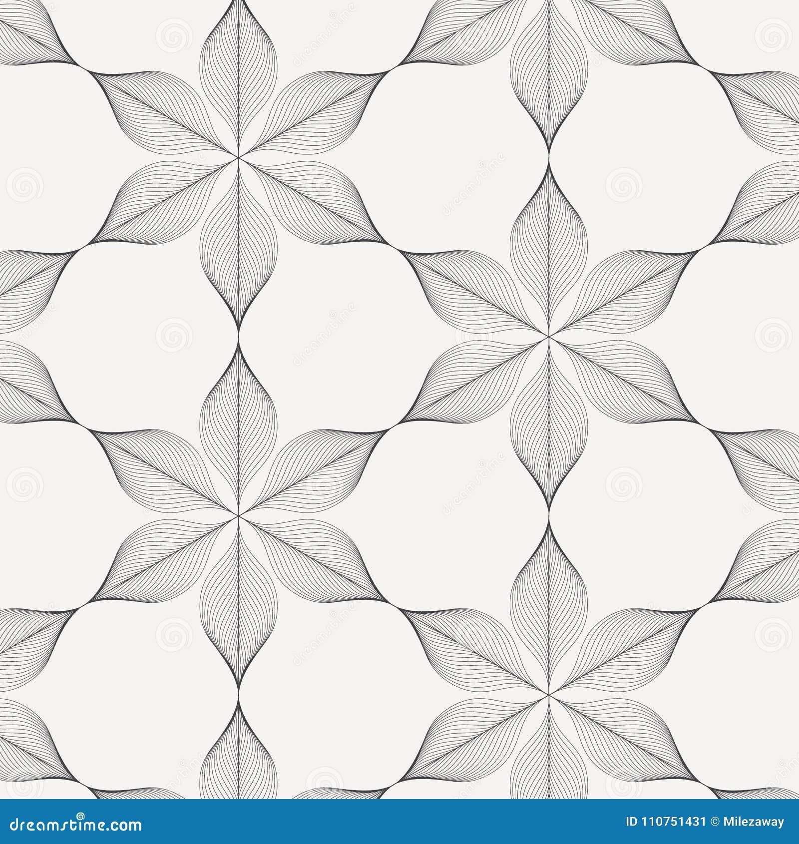 Γραμμικό διανυσματικό σχέδιο, που επαναλαμβάνει την περίληψη ένα γραμμικό φύλλο κάθε ένα που περιβάλλει στη hexagon μορφή