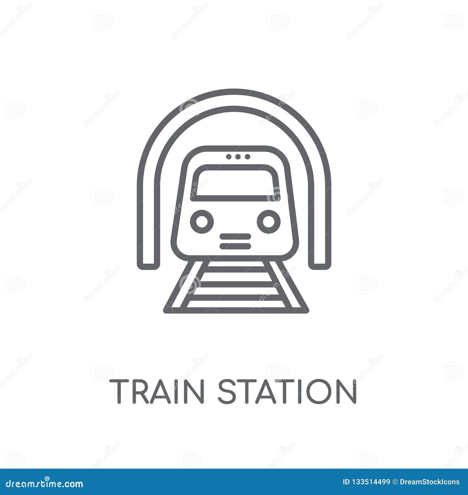 Γραμμικό εικονίδιο σταθμών τρένου Σύγχρονο λογότυπο σταθμών τρένου περιλήψεων con