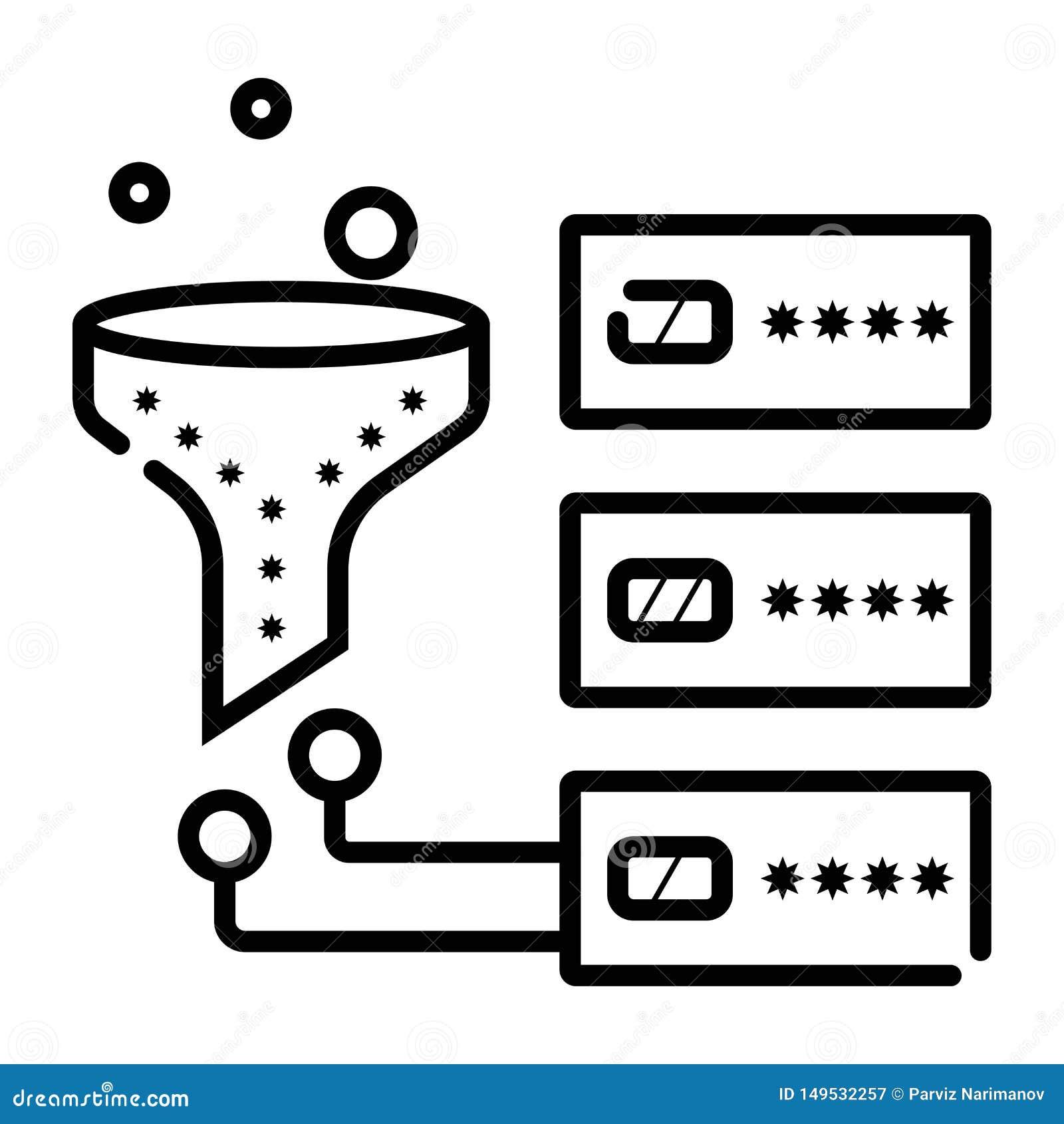 Γραμμικό εικονίδιο συστημάτων στοιχείων φιλτράροντας