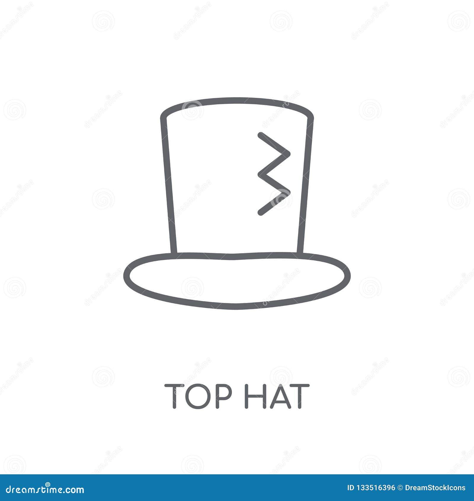 Γραμμικό εικονίδιο τοπ καπέλων Σύγχρονη έννοια λογότυπων καπέλων περιλήψεων τοπ στο μόριο