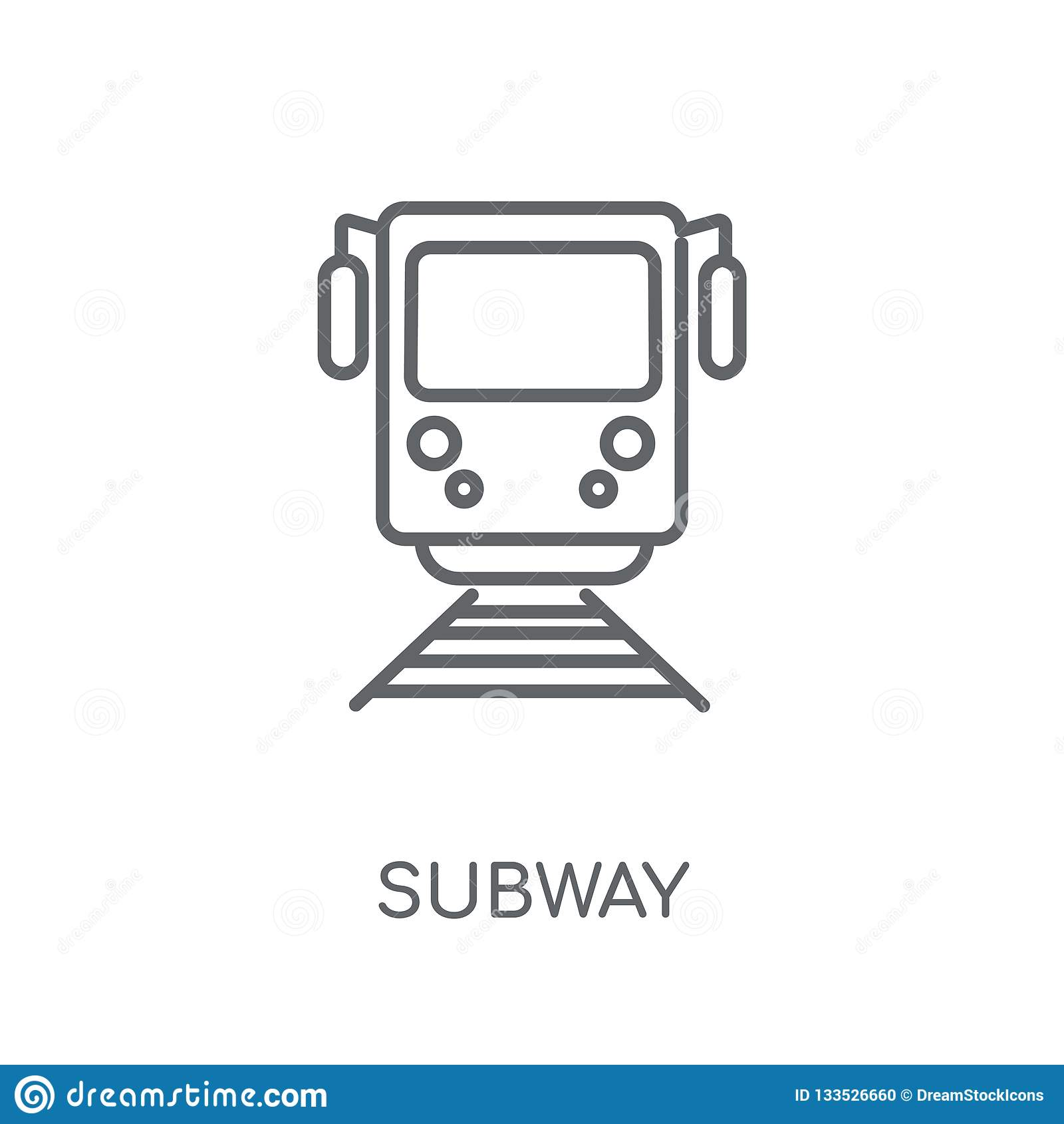 Γραμμικό εικονίδιο υπογείων Σύγχρονη έννοια λογότυπων υπογείων περιλήψεων στο λευκό