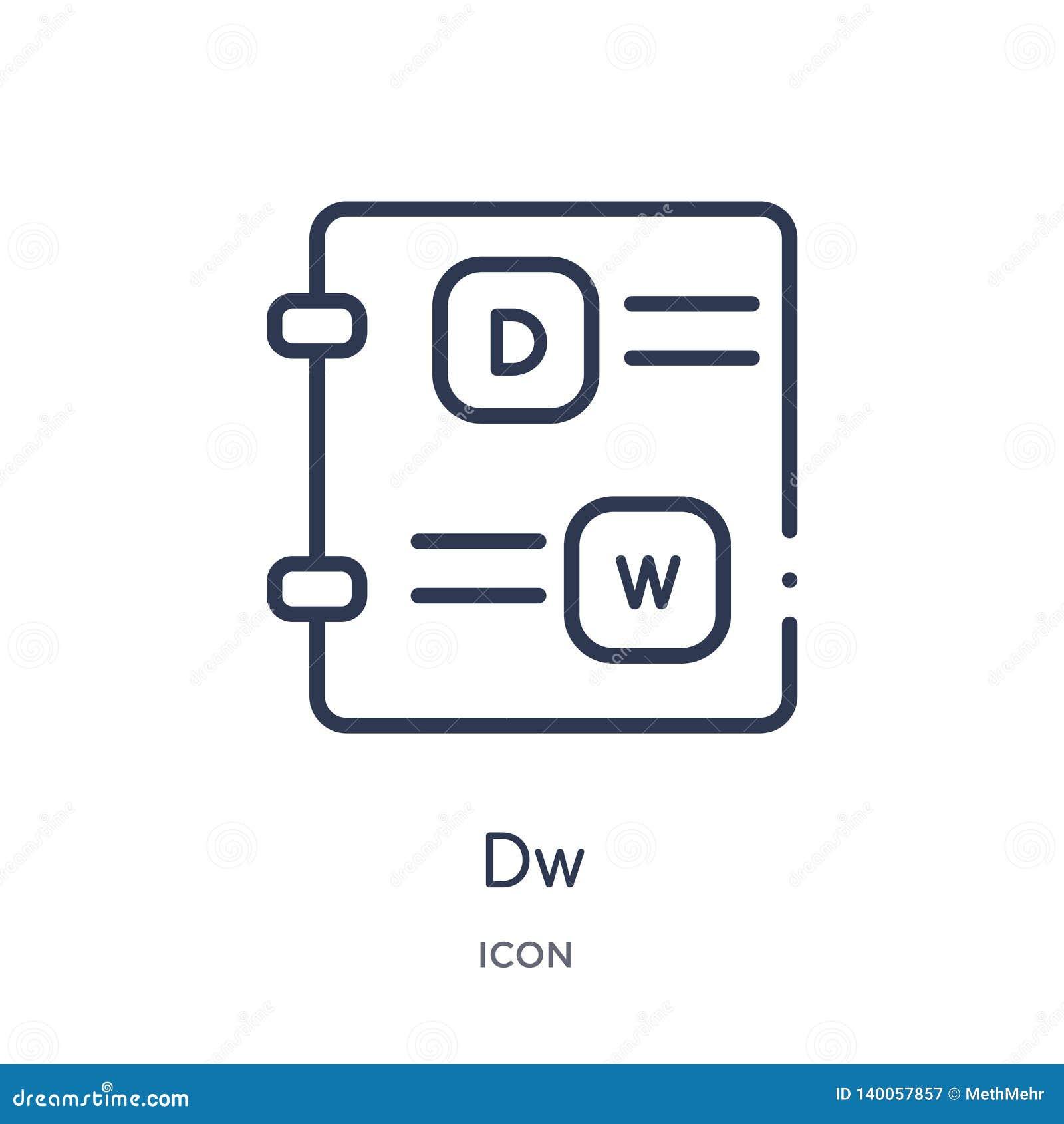 Γραμμικό εικονίδιο dw από τη συλλογή περιλήψεων τύπων αρχείου Λεπτό διάνυσμα γραμμών dw που απομονώνεται στο άσπρο υπόβαθρο dw κα