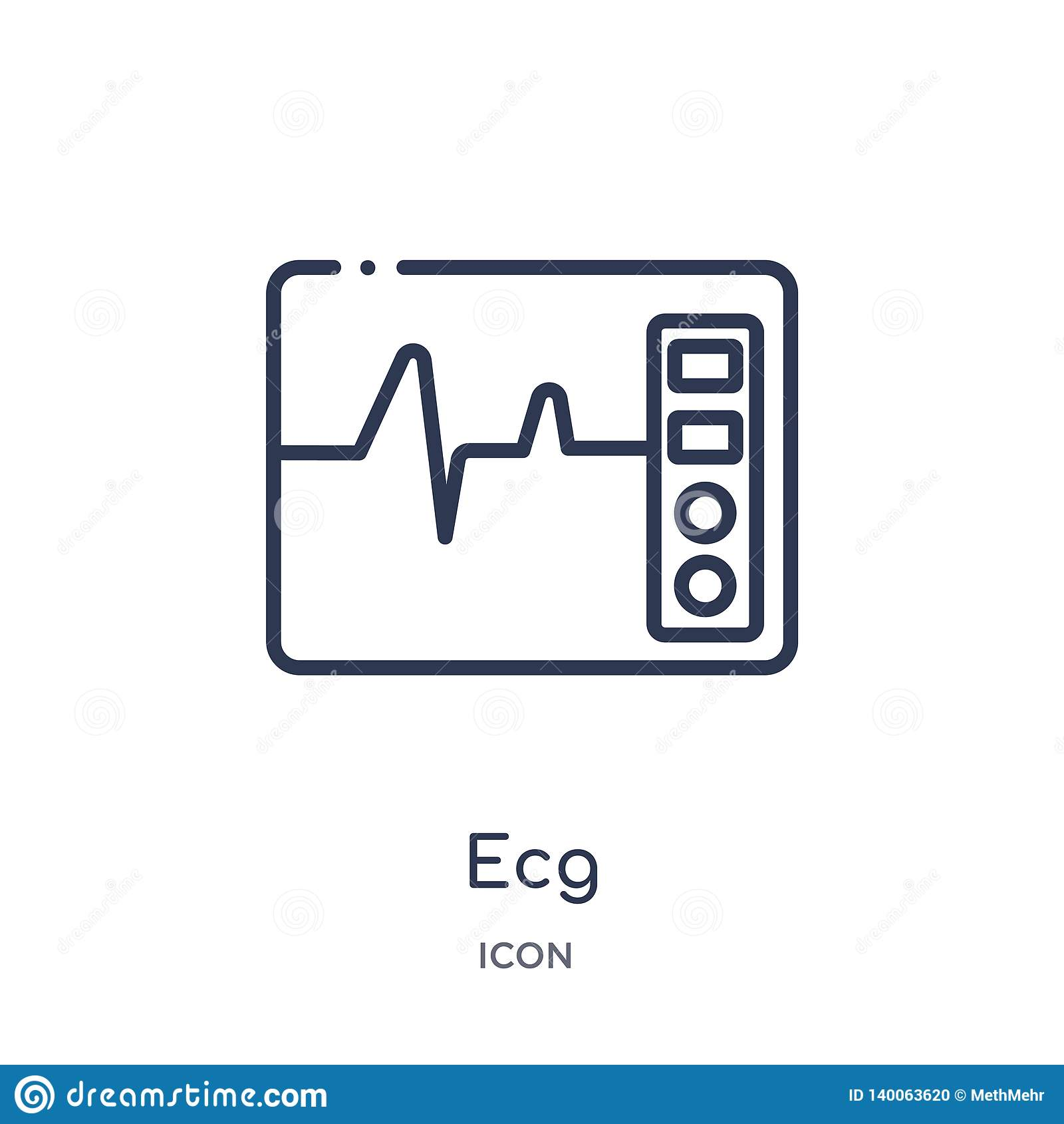 Γραμμικό εικονίδιο ecg από την ιατρική συλλογή περιλήψεων Λεπτό εικονίδιο γραμμών ecg που απομονώνεται στο άσπρο υπόβαθρο ecg καθ
