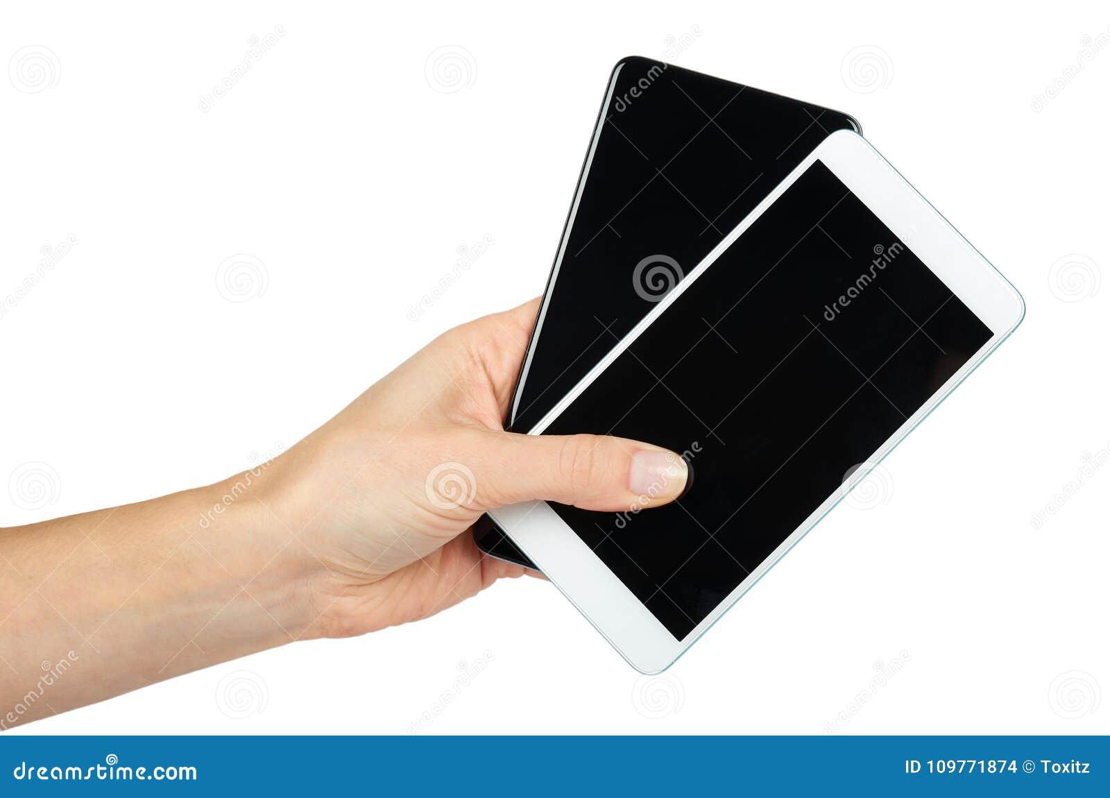 Γραπτά κινητά τηλέφωνα με τις σκοτεινές οθόνες διαθέσιμες, απομονωμένος στο άσπρο υπόβαθρο Διαφημίστε το πρότυπο, διάστημα αντιγρ