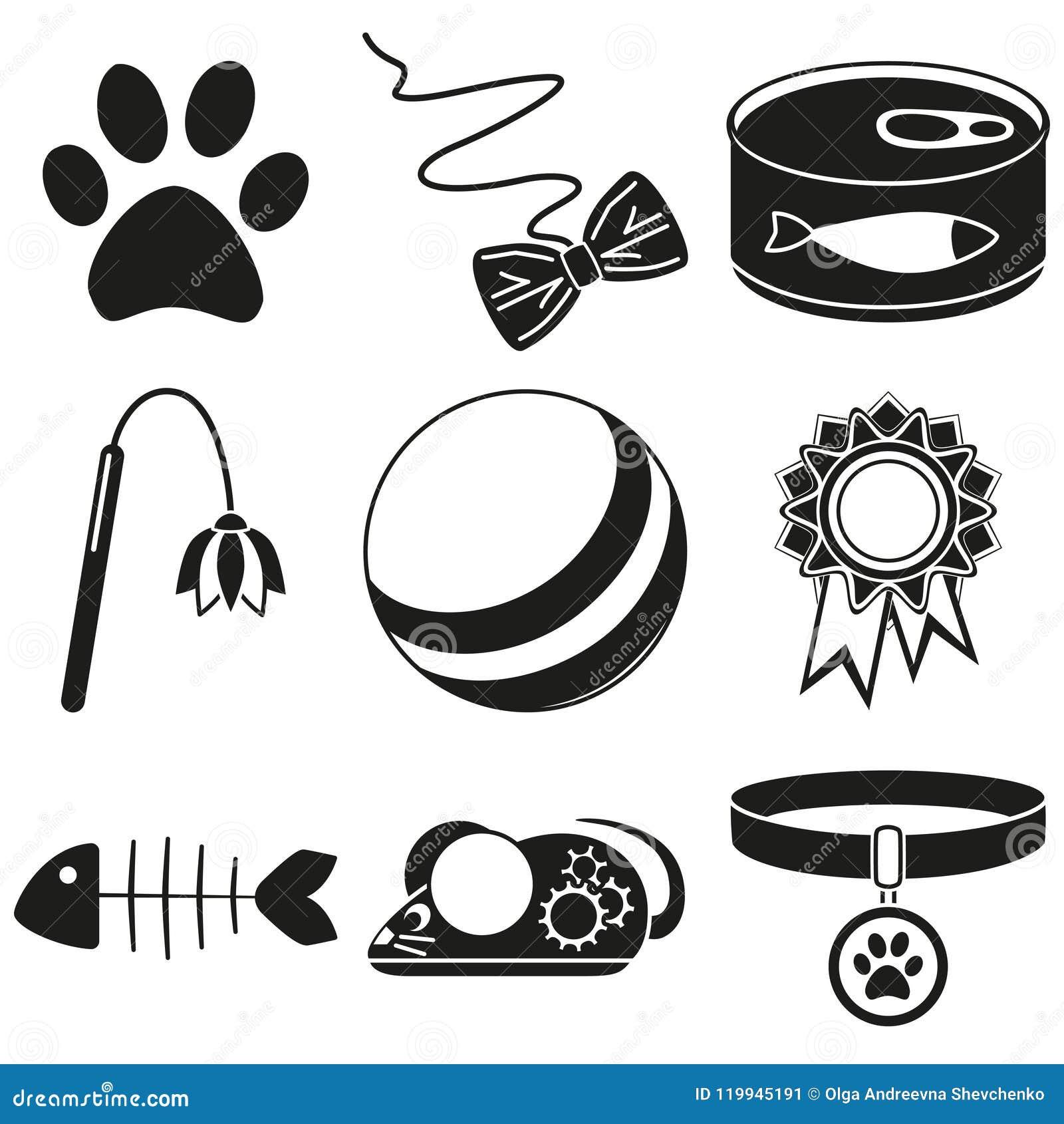 Γραπτά 9 στοιχεία σκιαγραφιών προσοχής γατών