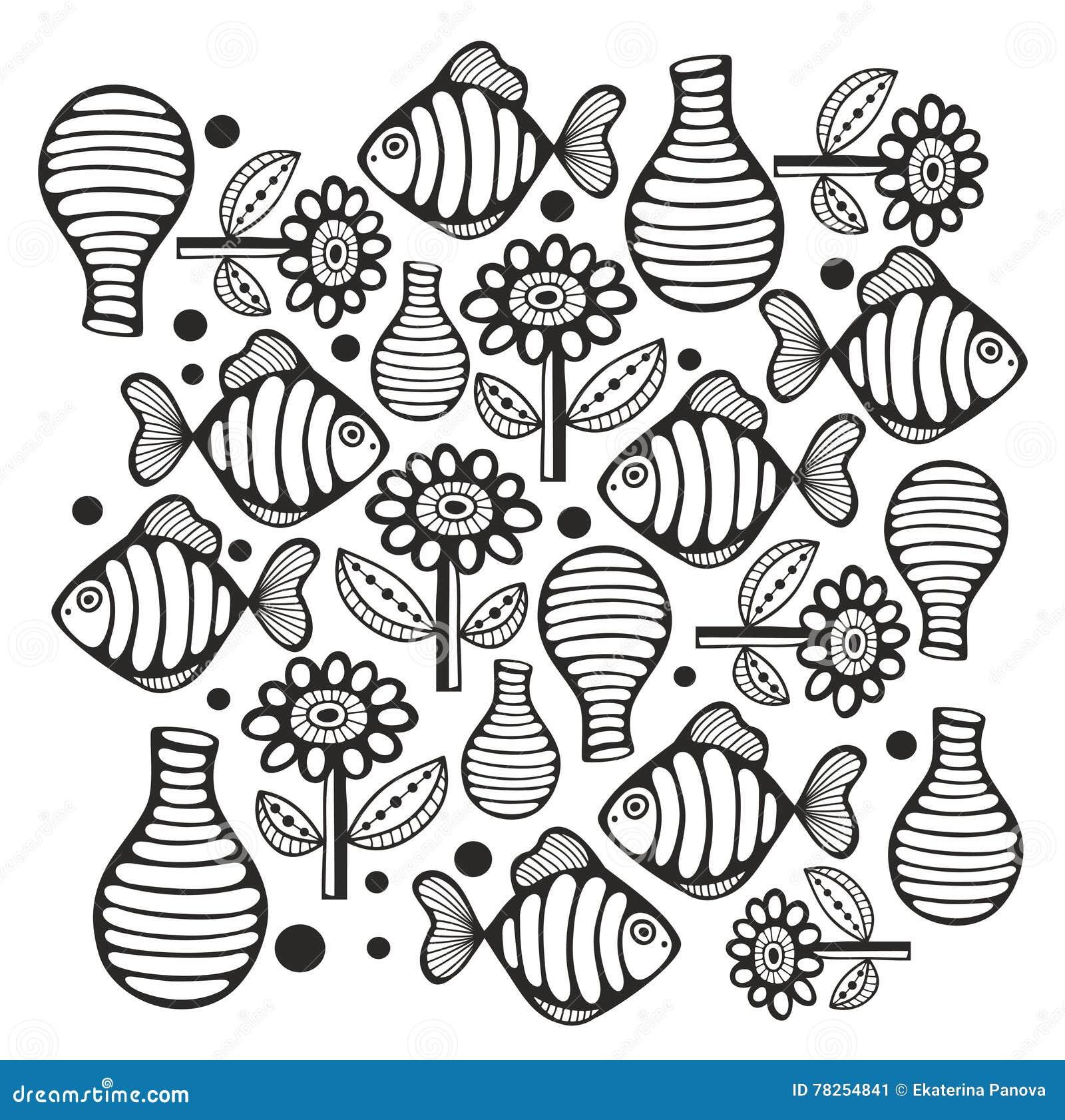 Γραπτή σελίδα με τα ψάρια και τα λουλούδια