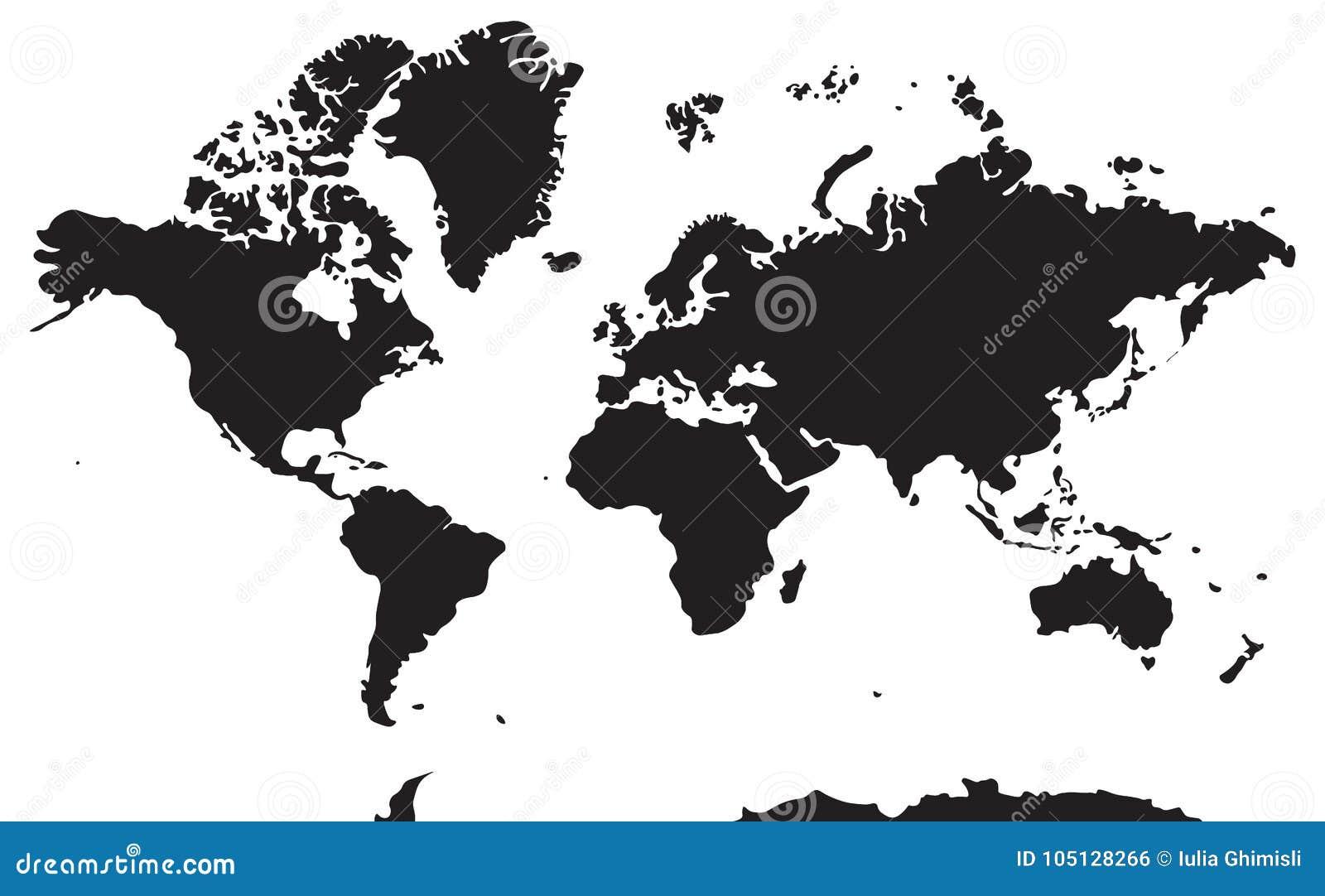 Γραπτός γεωγραφικός χάρτης Ήπειροι: Ασία, Ευρώπη, Nort