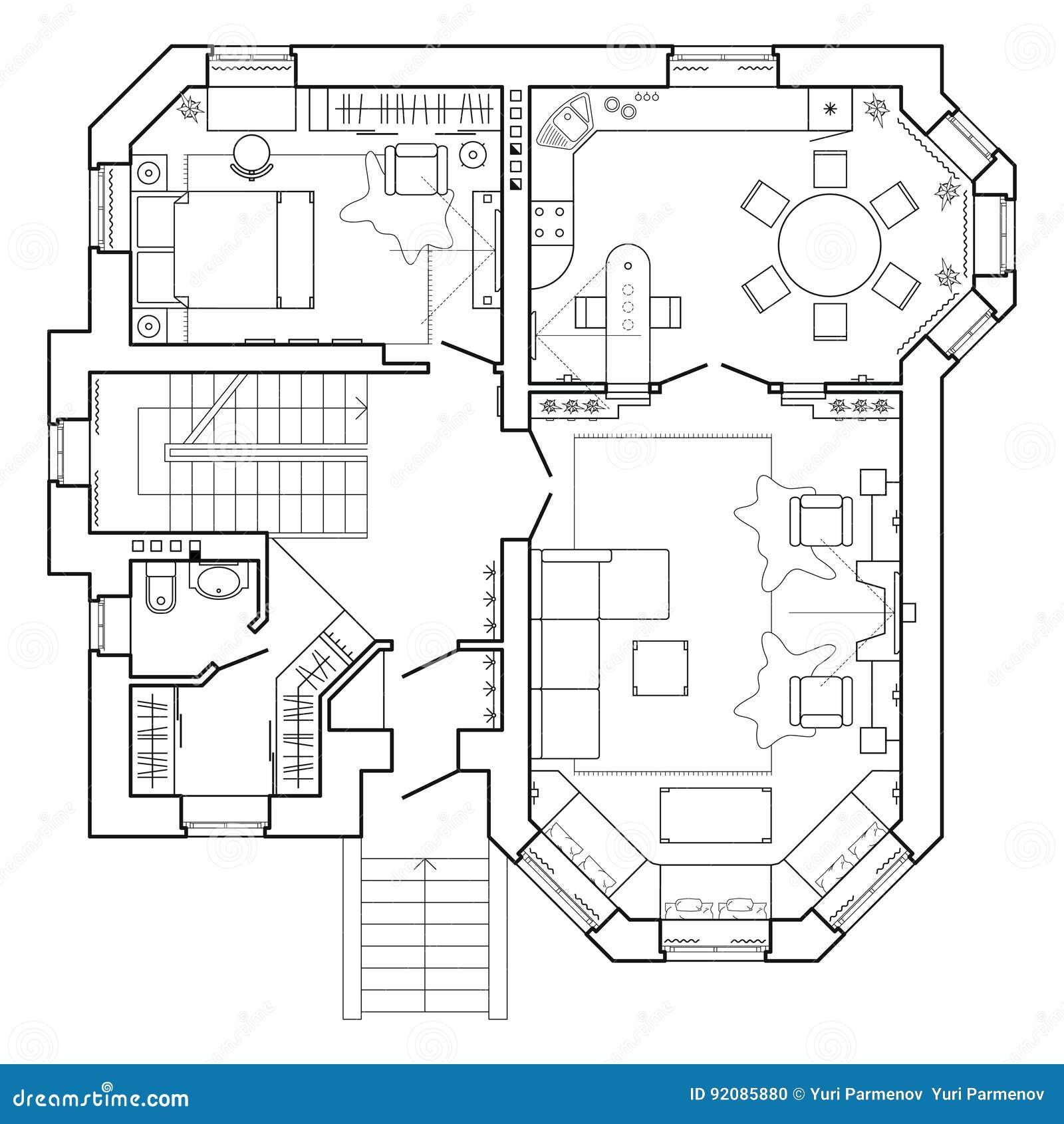 Γραπτό αρχιτεκτονικό σχέδιο ενός σπιτιού Σχεδιάγραμμα του διαμερίσματος με τα έπιπλα κατά την άποψη σχεδίων